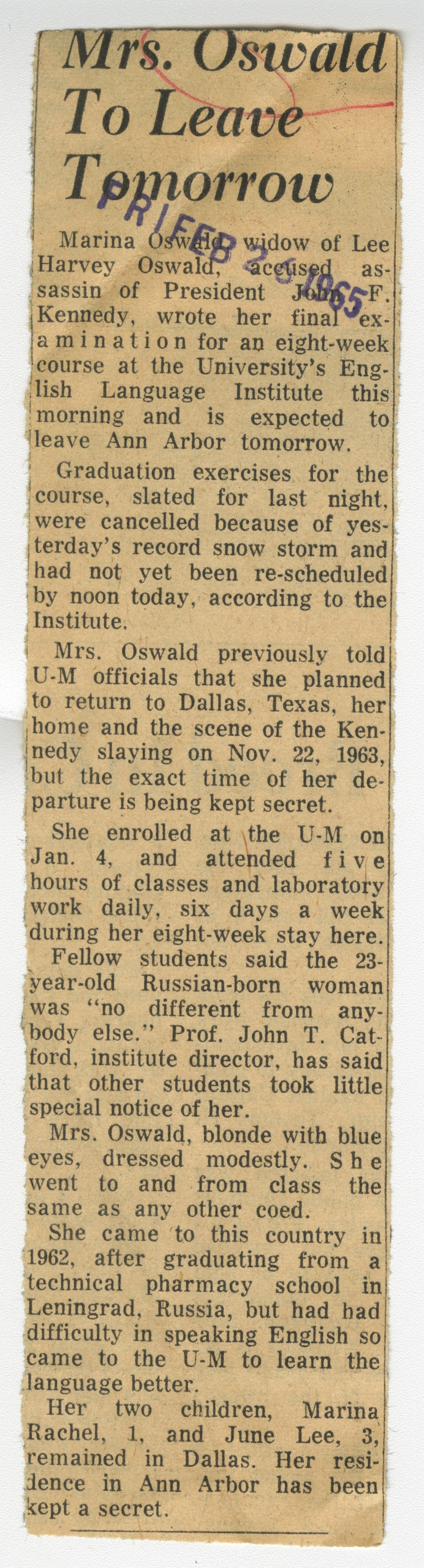 Mrs. Oswald To Leave Tomorrow image