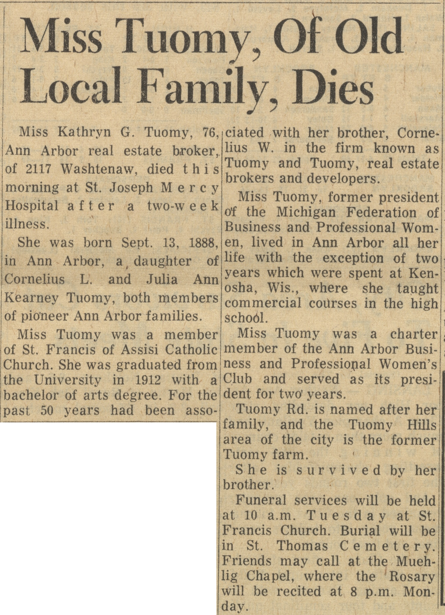 Miss Tuomy, Of Old Local Family, Dies image