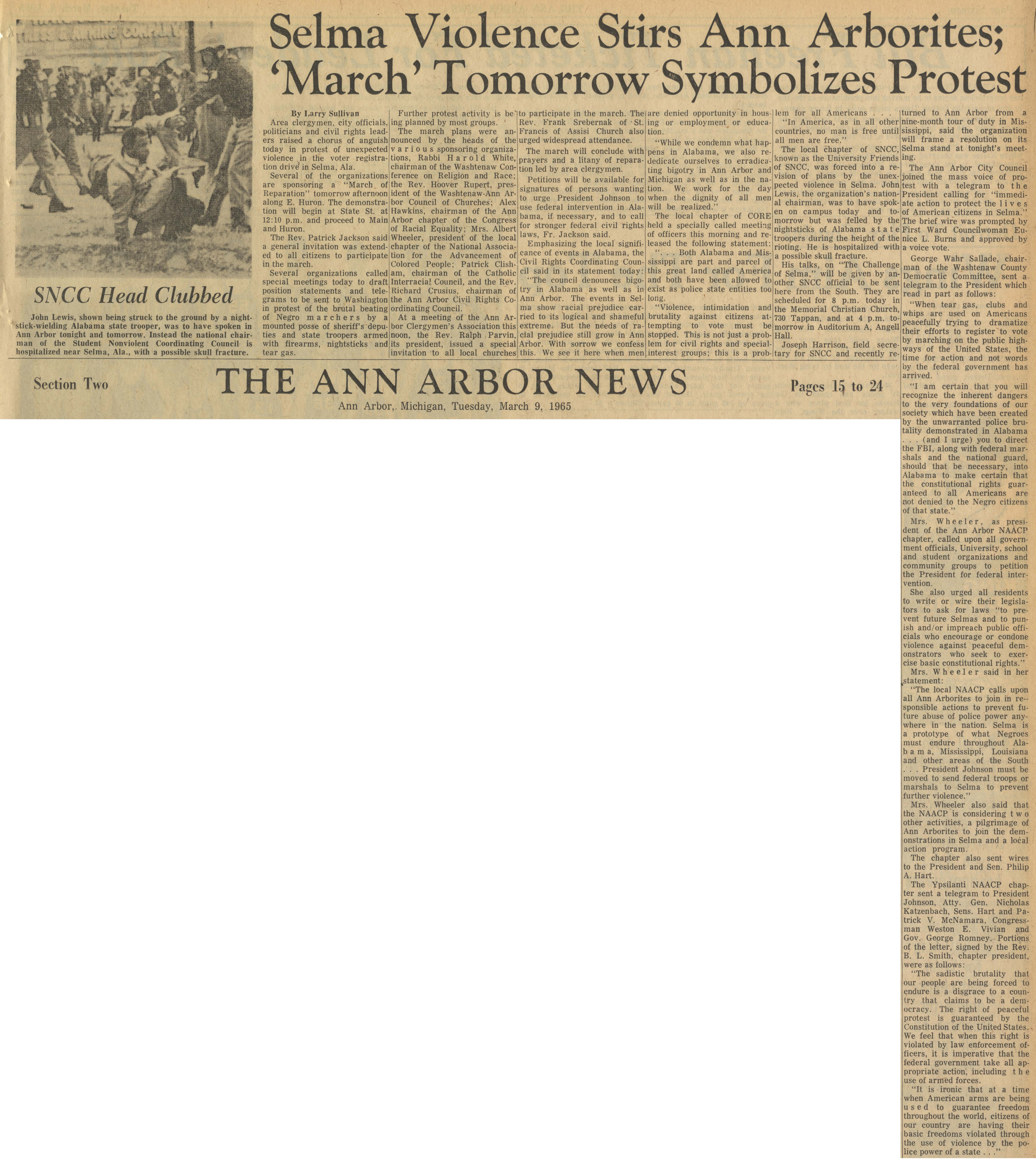 Selma Violence Stirs Ann Arborites; 'March' Tomorrow Symbolizes Protest image