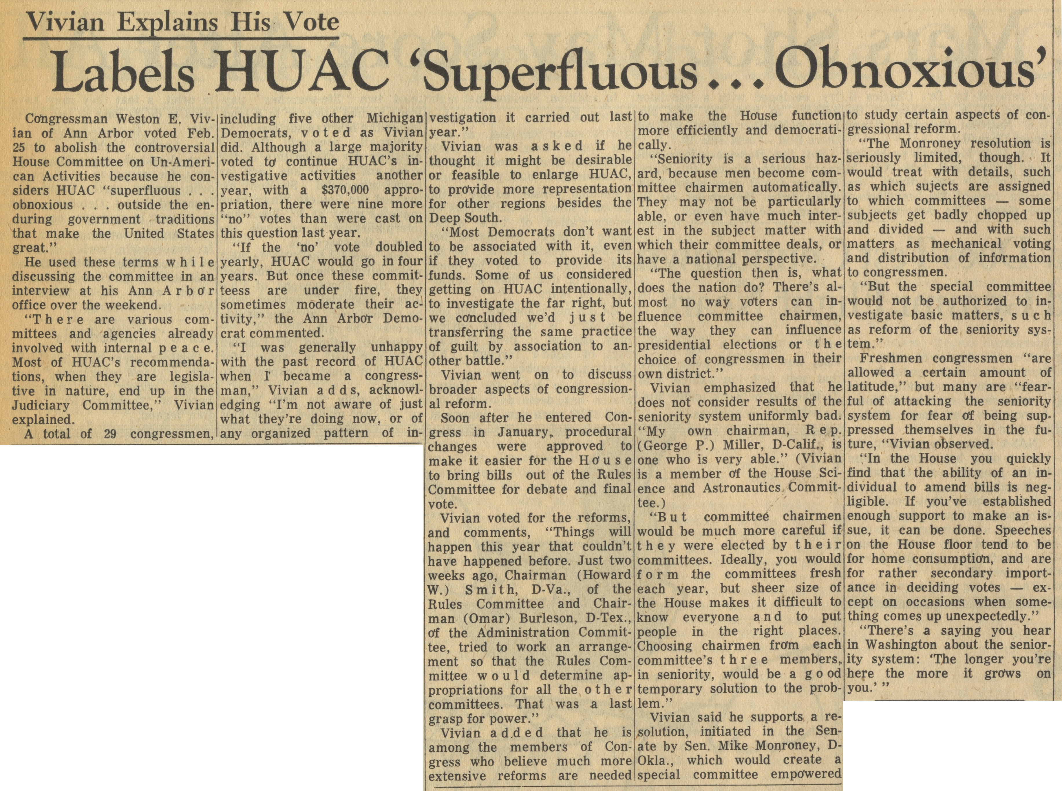 Labels HUAC 'Superfluous...Obnoxious' image