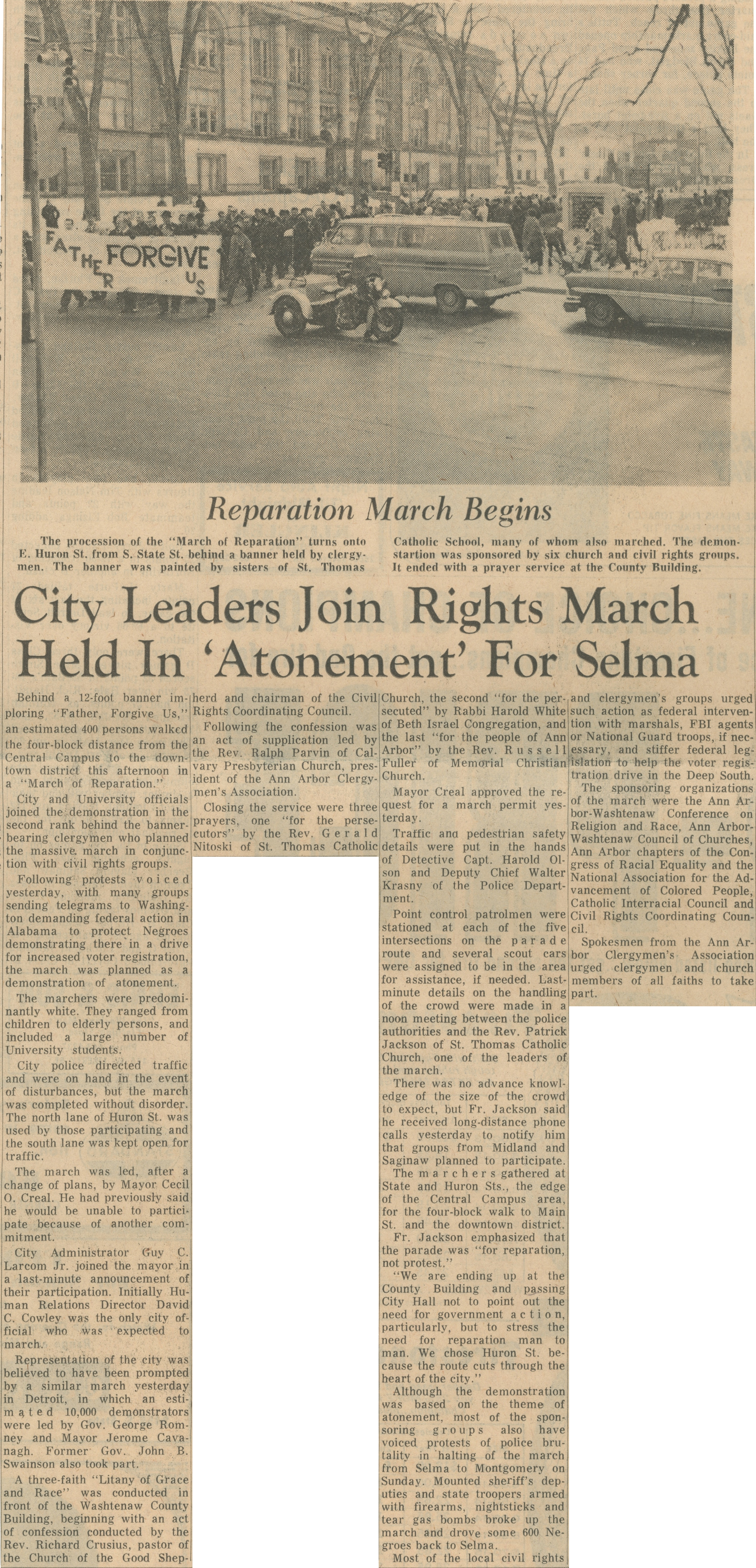 "City Leaders Join Rights March Held In ""Atonement"" For Selma image"