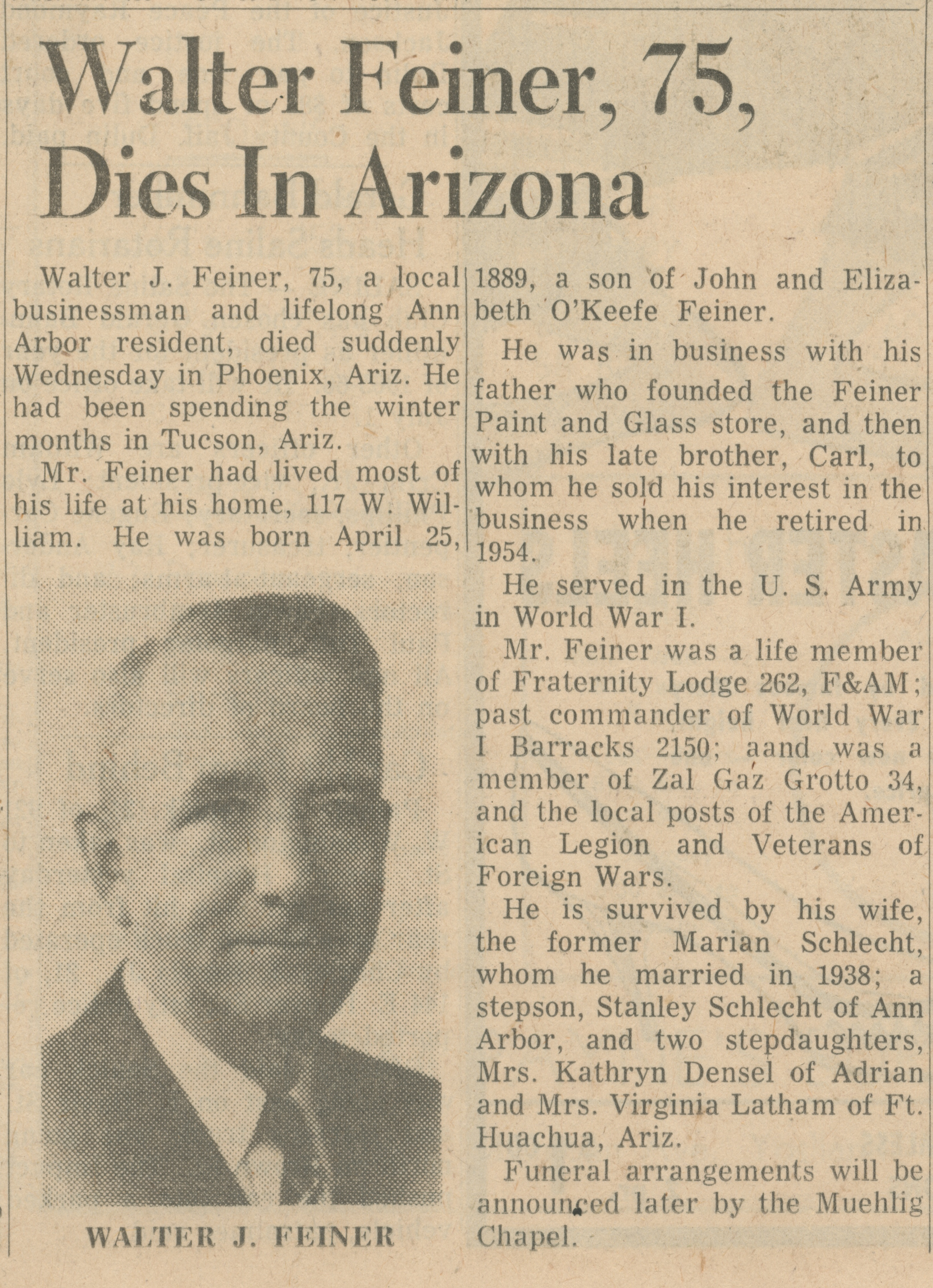 Walter Feiner, 75, Dies In Arizona image