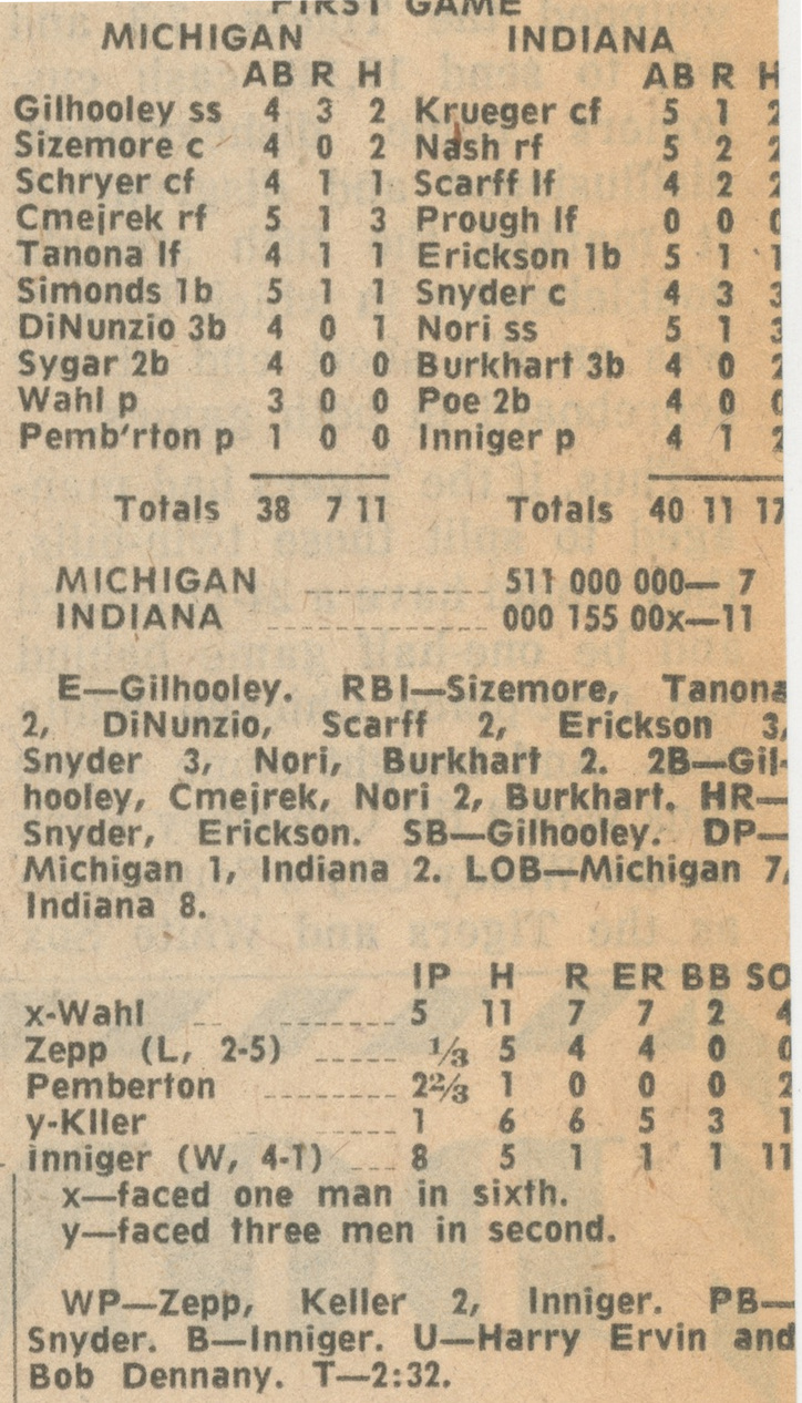 Michigan Baseball Box Score First Game: Michigan vs. Indiana, May 22, 1965 image