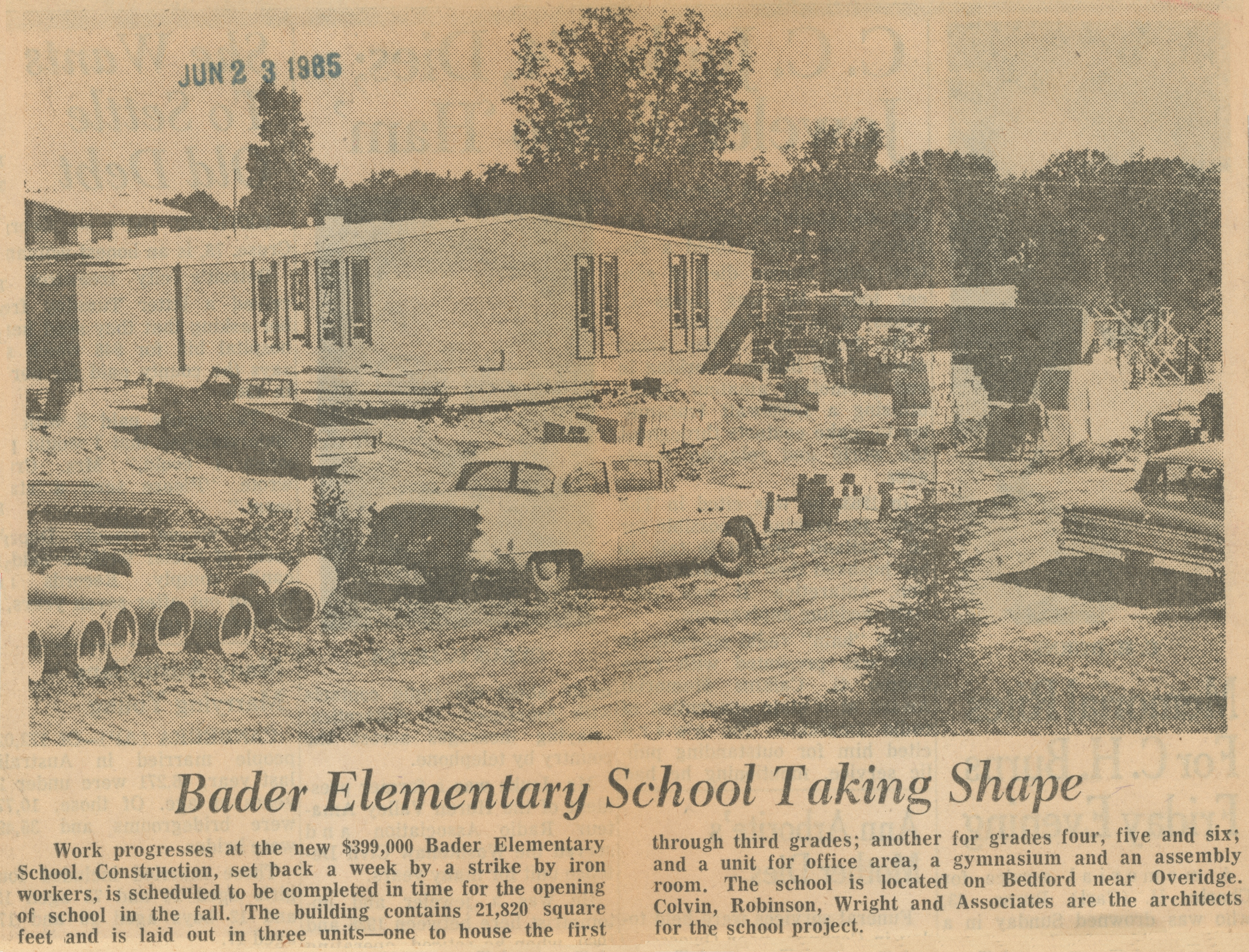 Bader Elementary School Taking Shape image