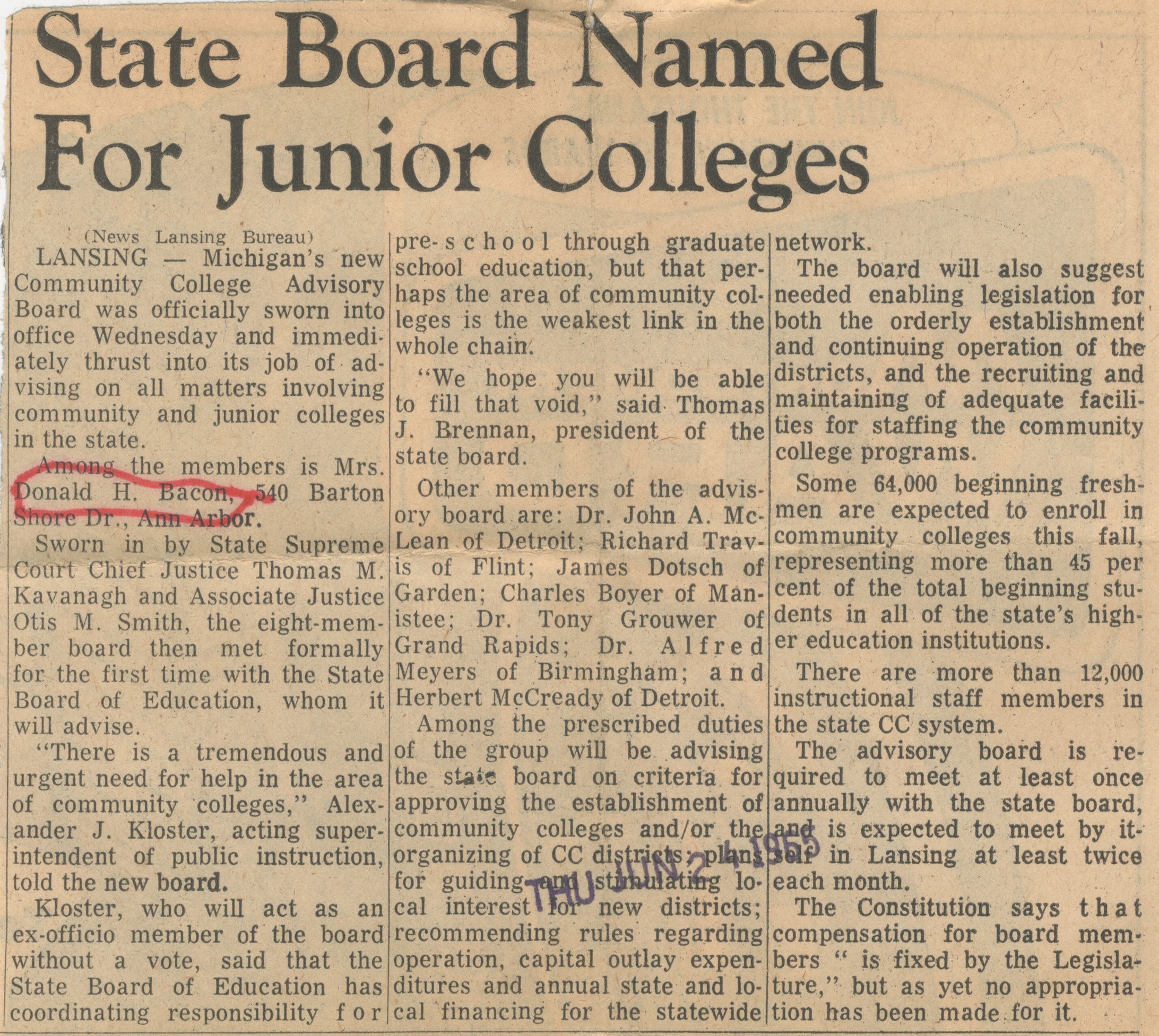 State Board Named For Junior College image