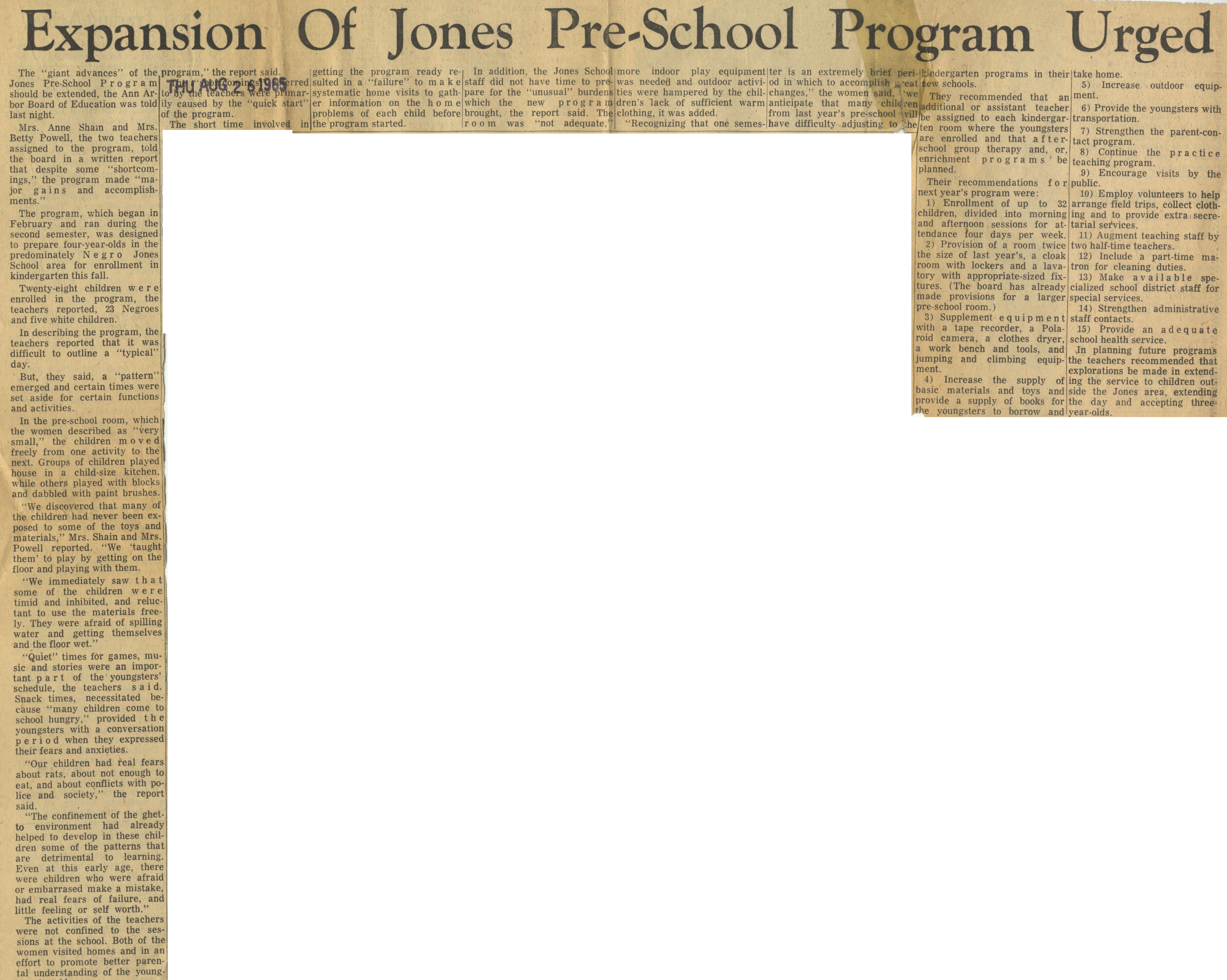 Expansion Of Jones Pre-School Program Urged image