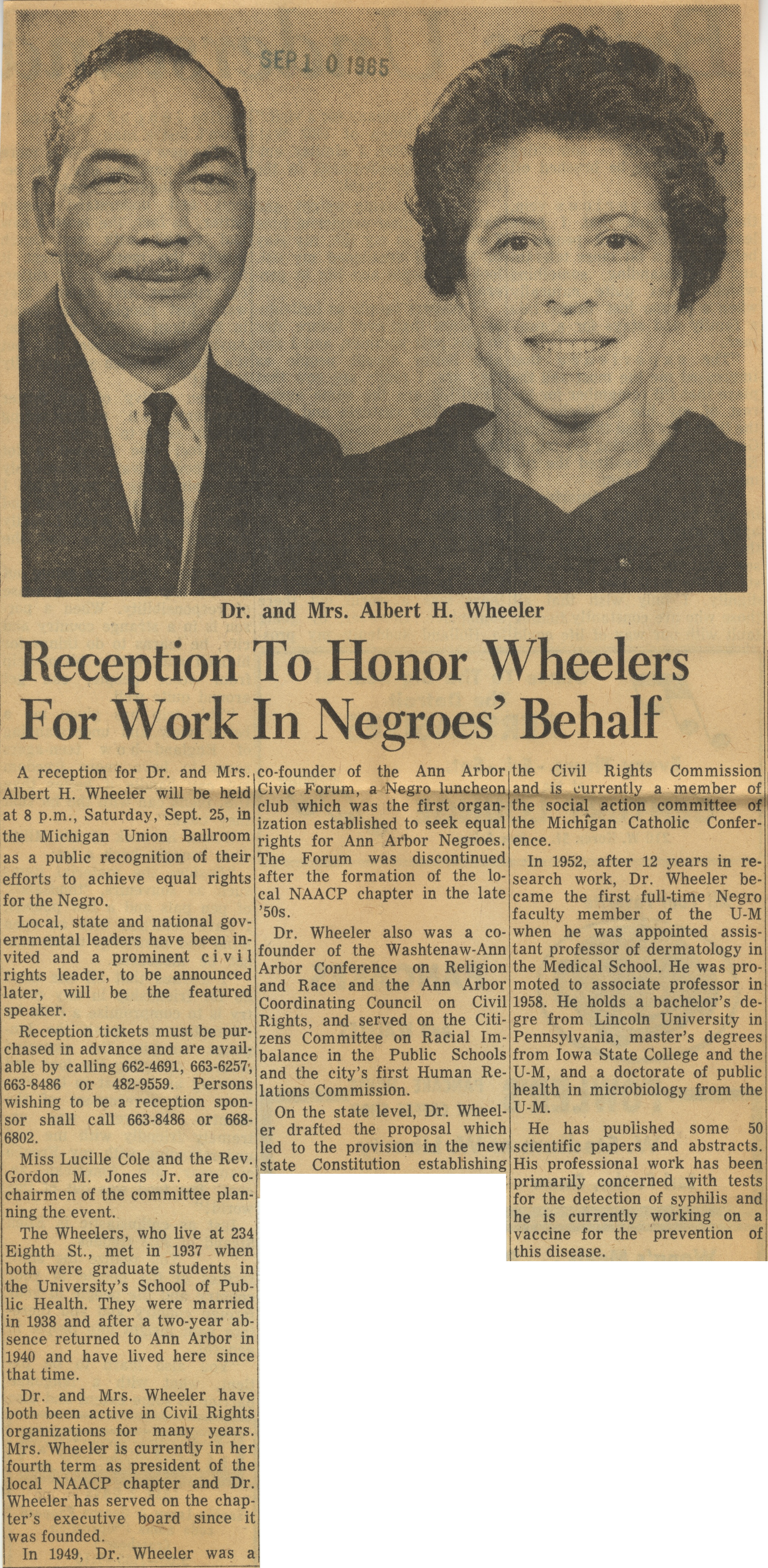 Reception To Honor Wheelers For Work In Negroes' Behalf image