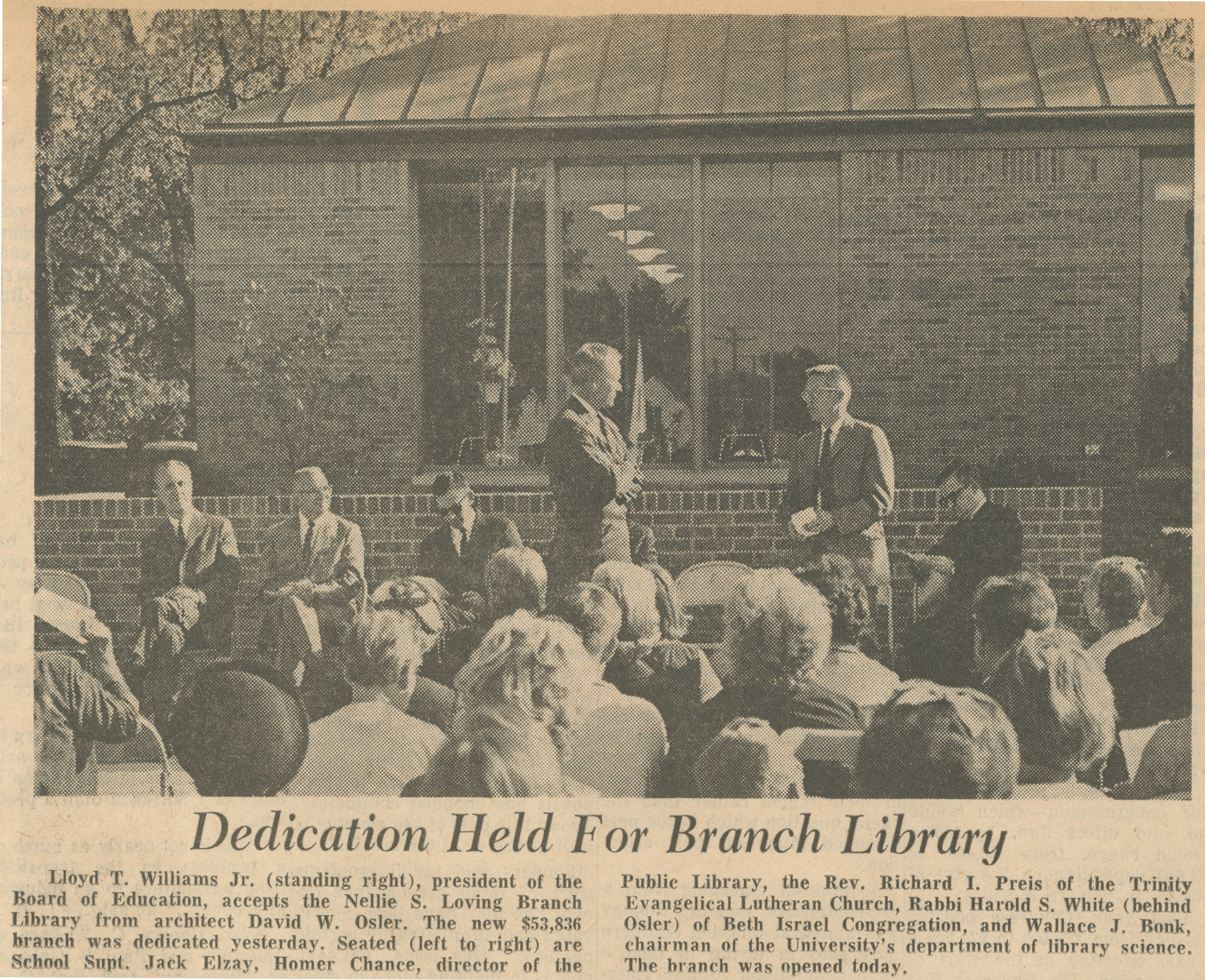 Dedication Held For Branch Library image