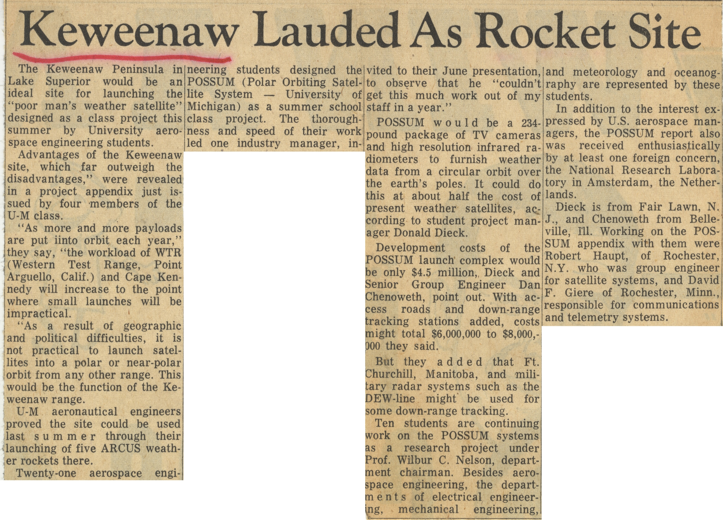 Keweenaw Lauded As Rocket Site image