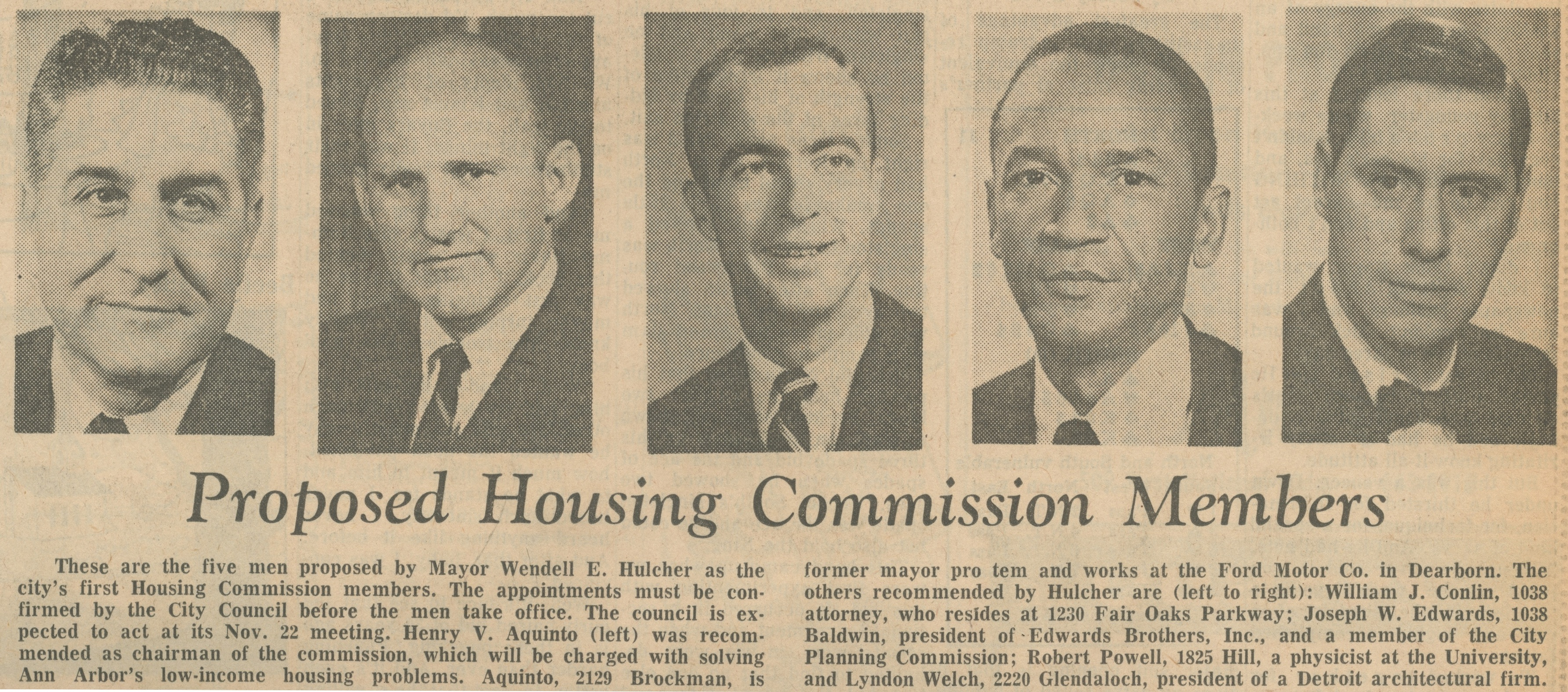 Proposed Housing Commission Members image