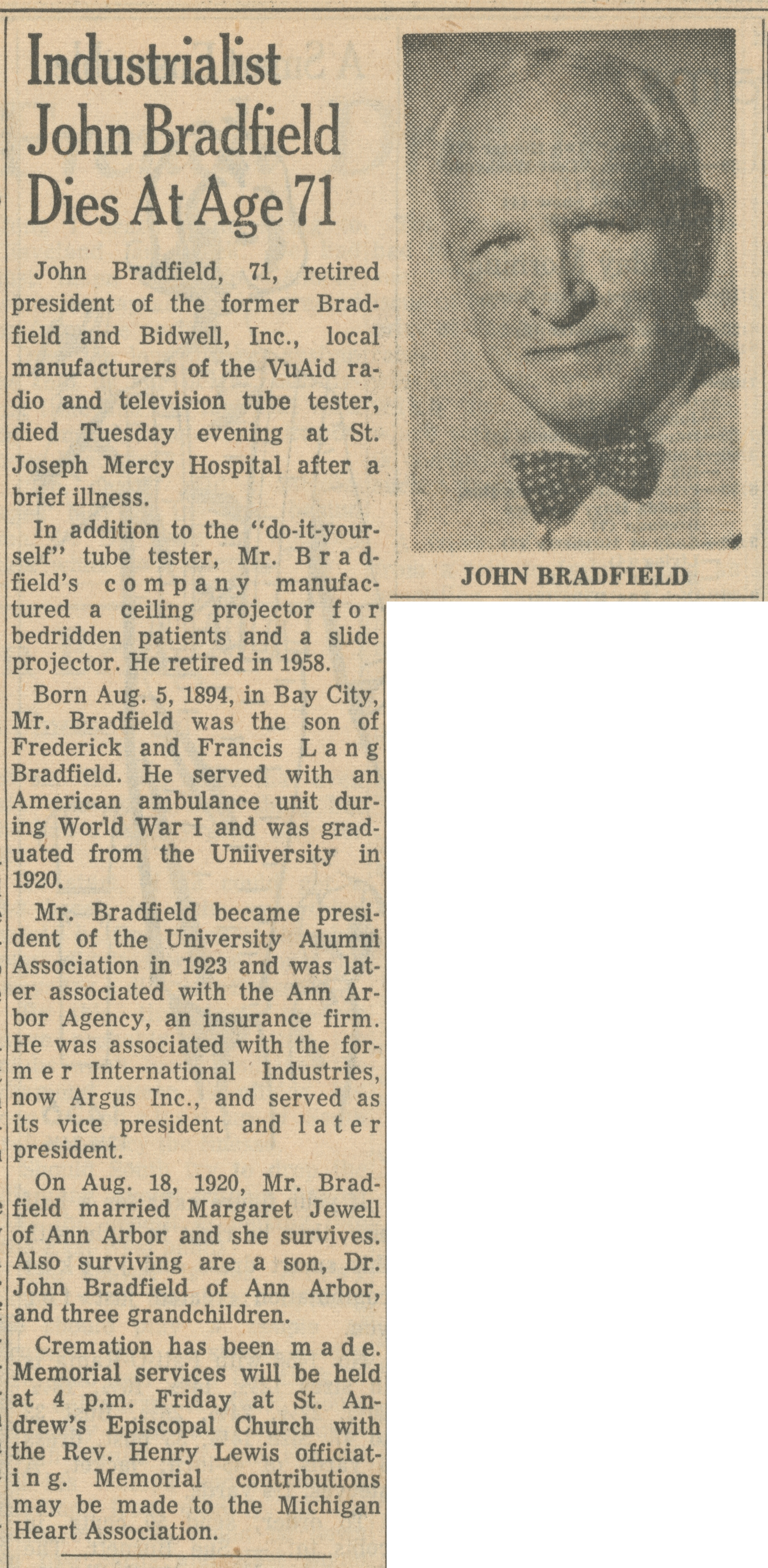 Industrialist John Bradfield Dies At Age 71 image