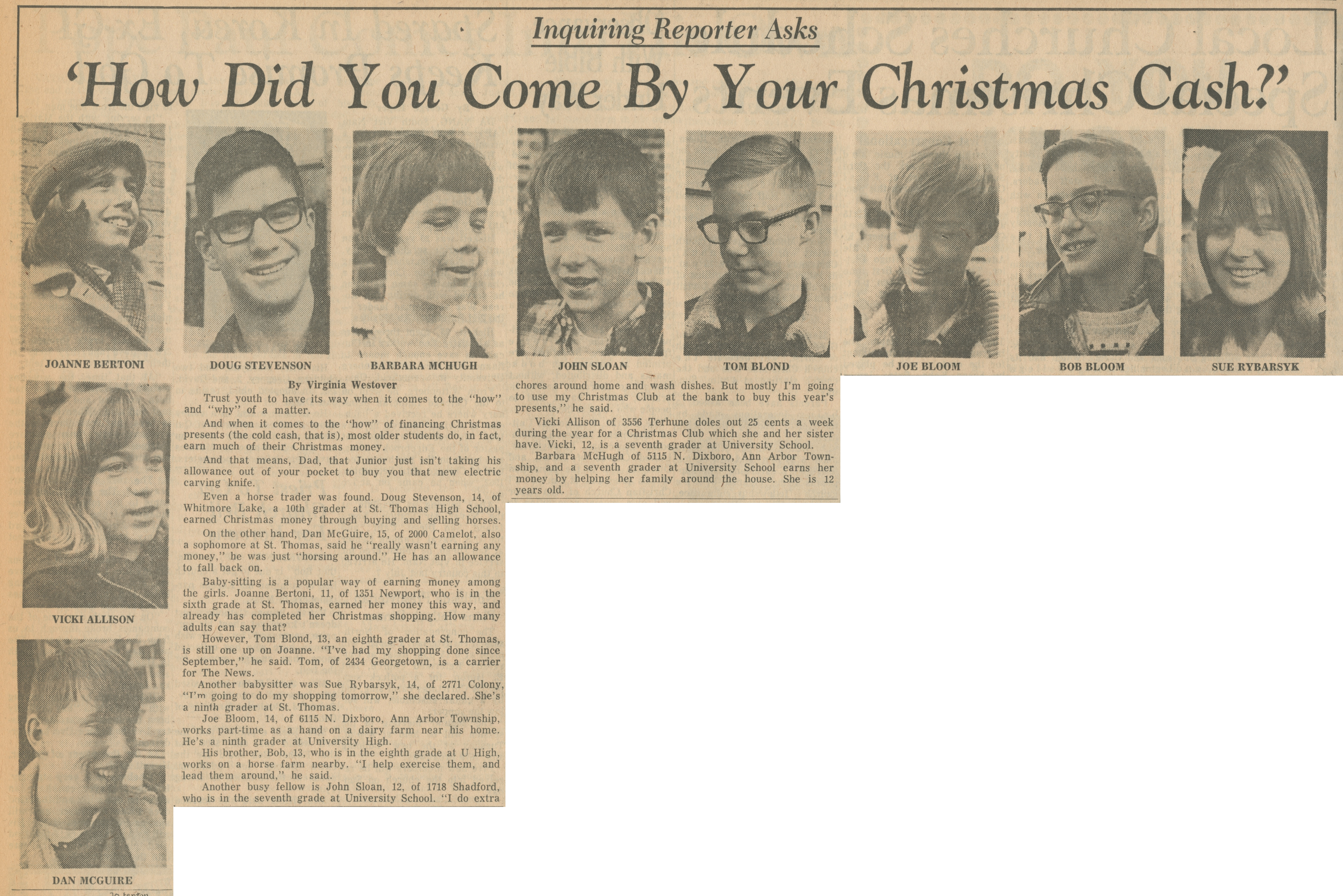 Inquiring Reporter Asks - How Did You Come By Your Christmas Cash? image