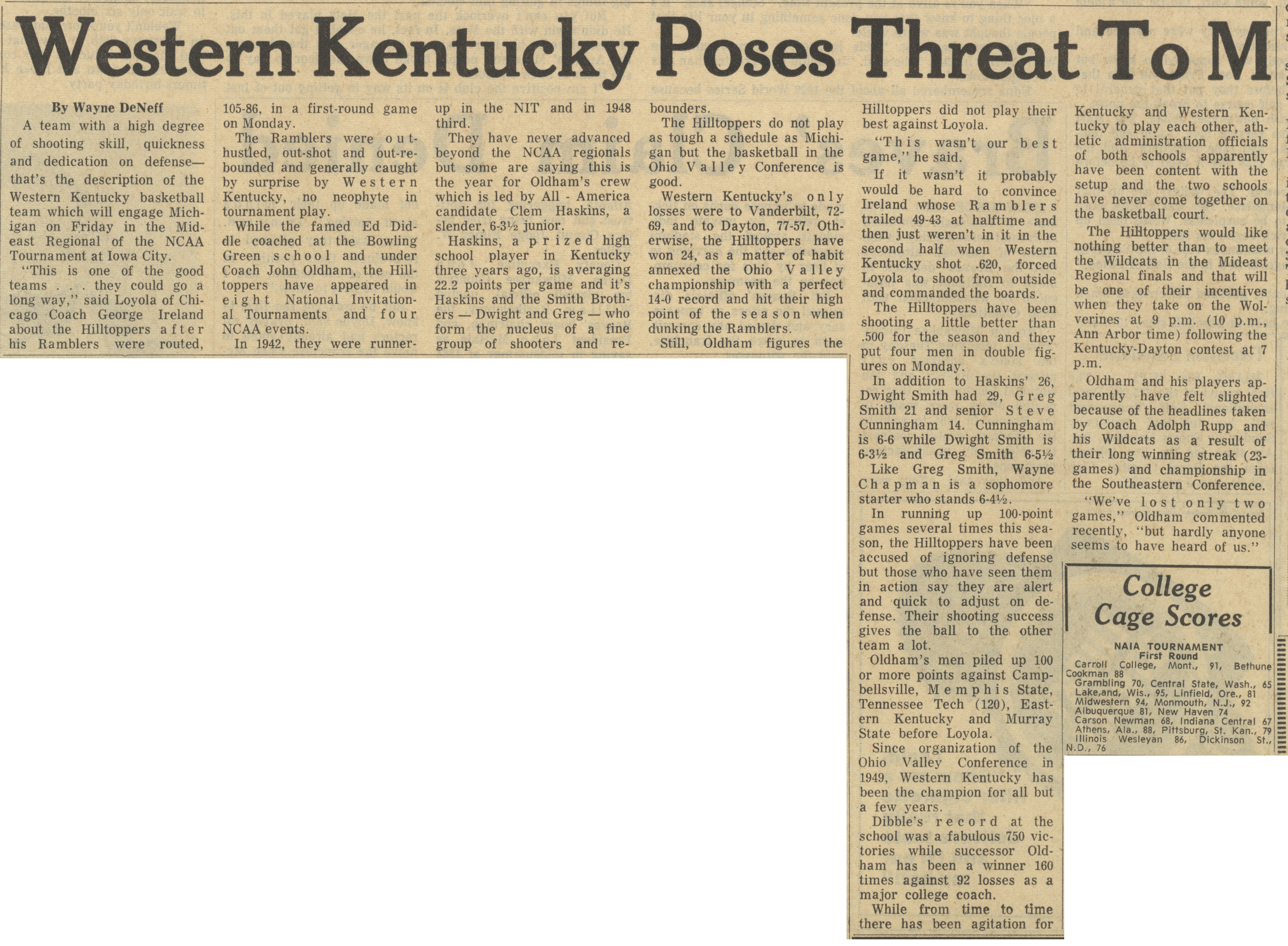 Western Kentucky Poses Threat To M image
