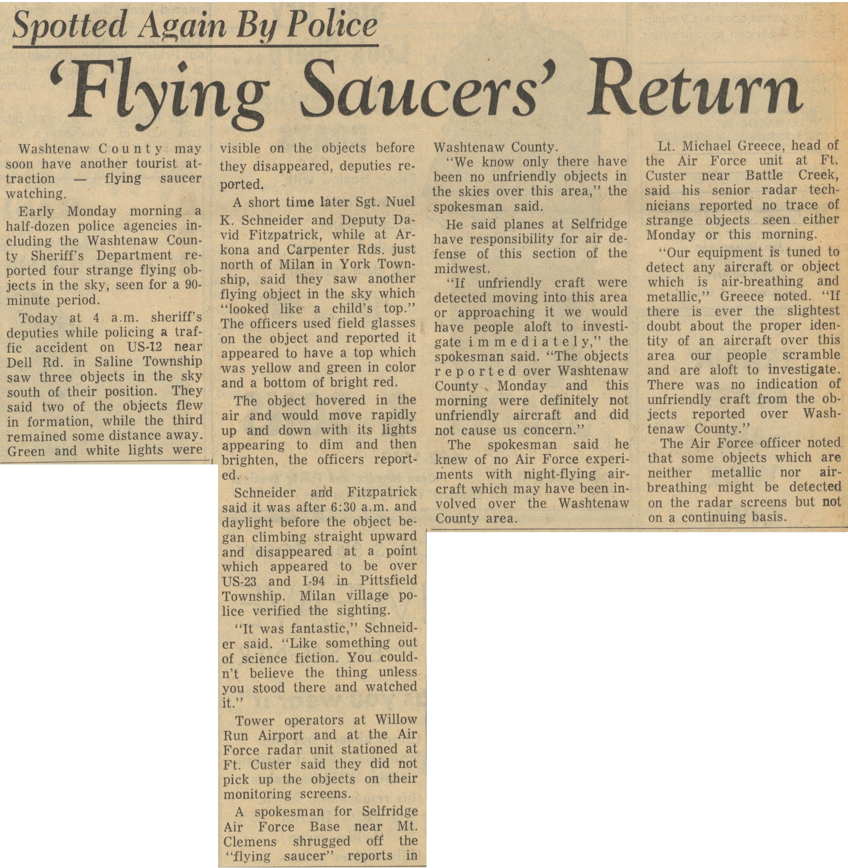 "Spotted Again By Police: ""Flying Saucers"" Return image"