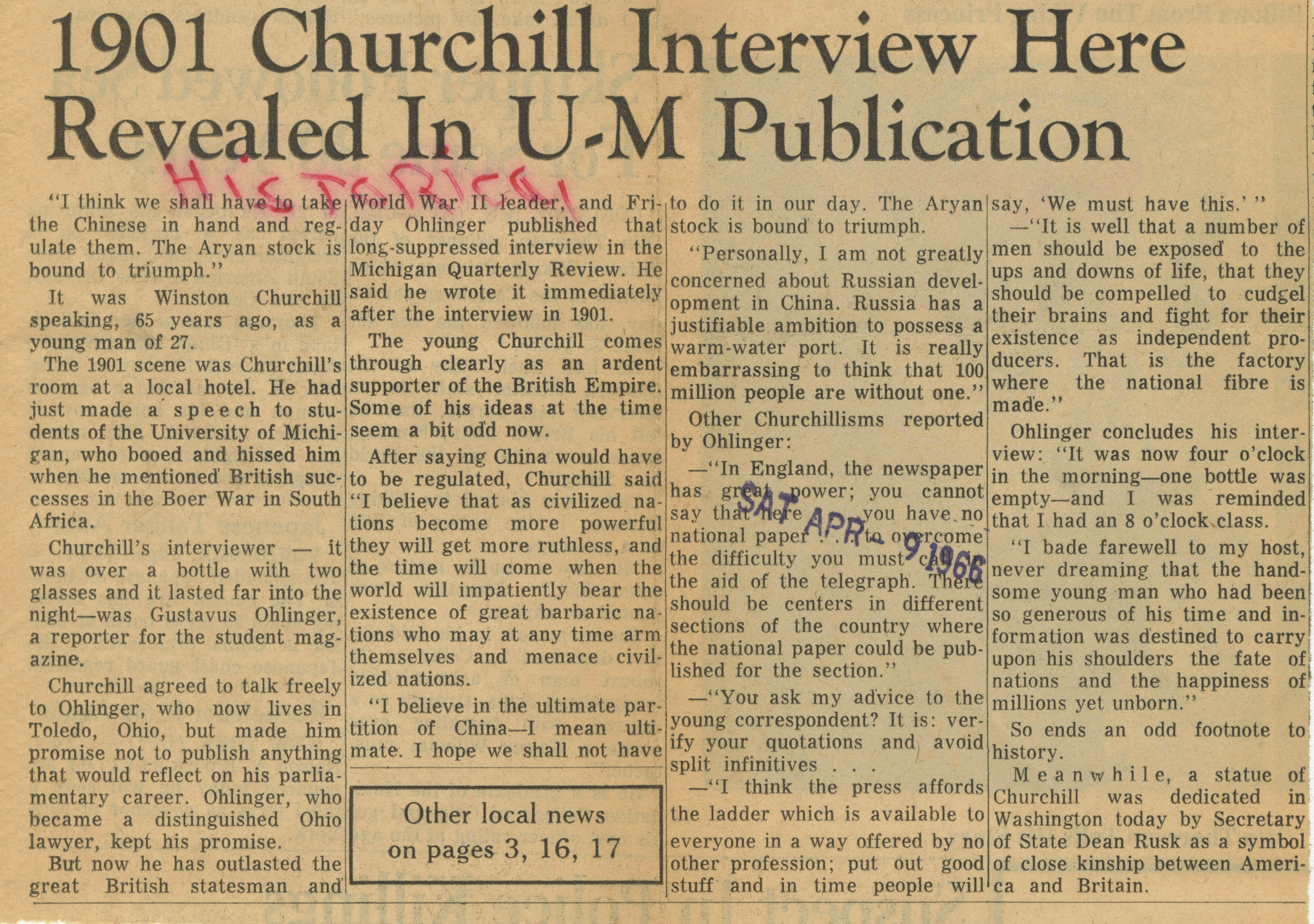 1901 Churchill Interview Here Revealed in U-M Publication image