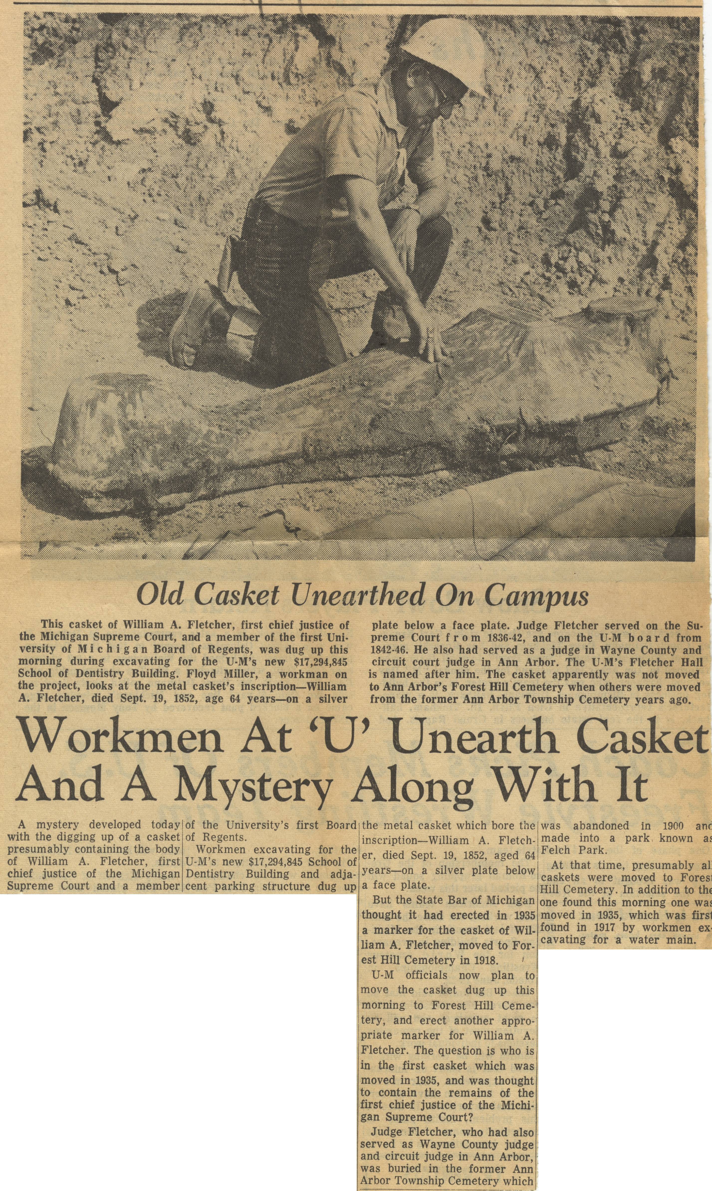 Workmen At 'U' Unearth Casket And A Mystery Along With It image