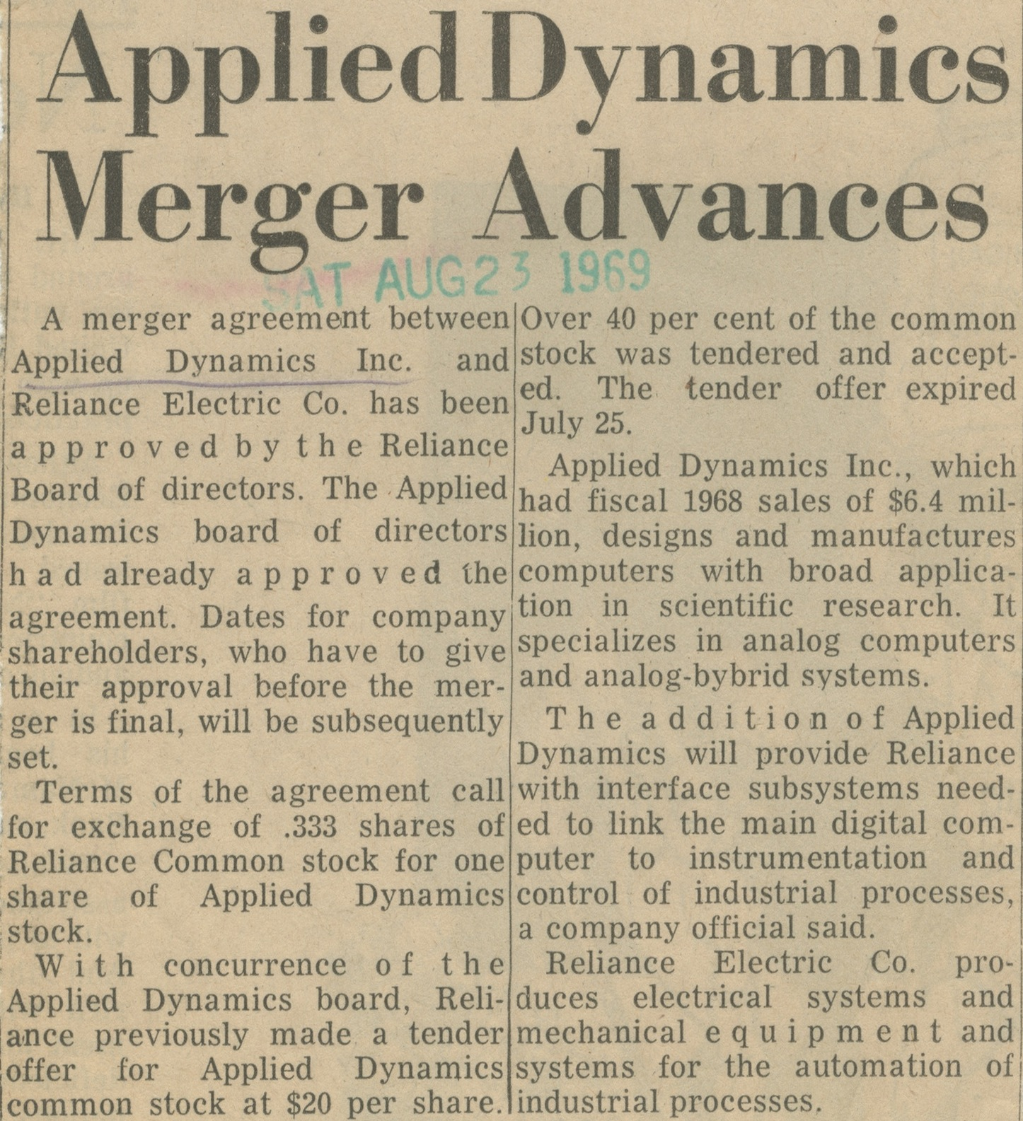 Applied Dynamics Merger Advances image