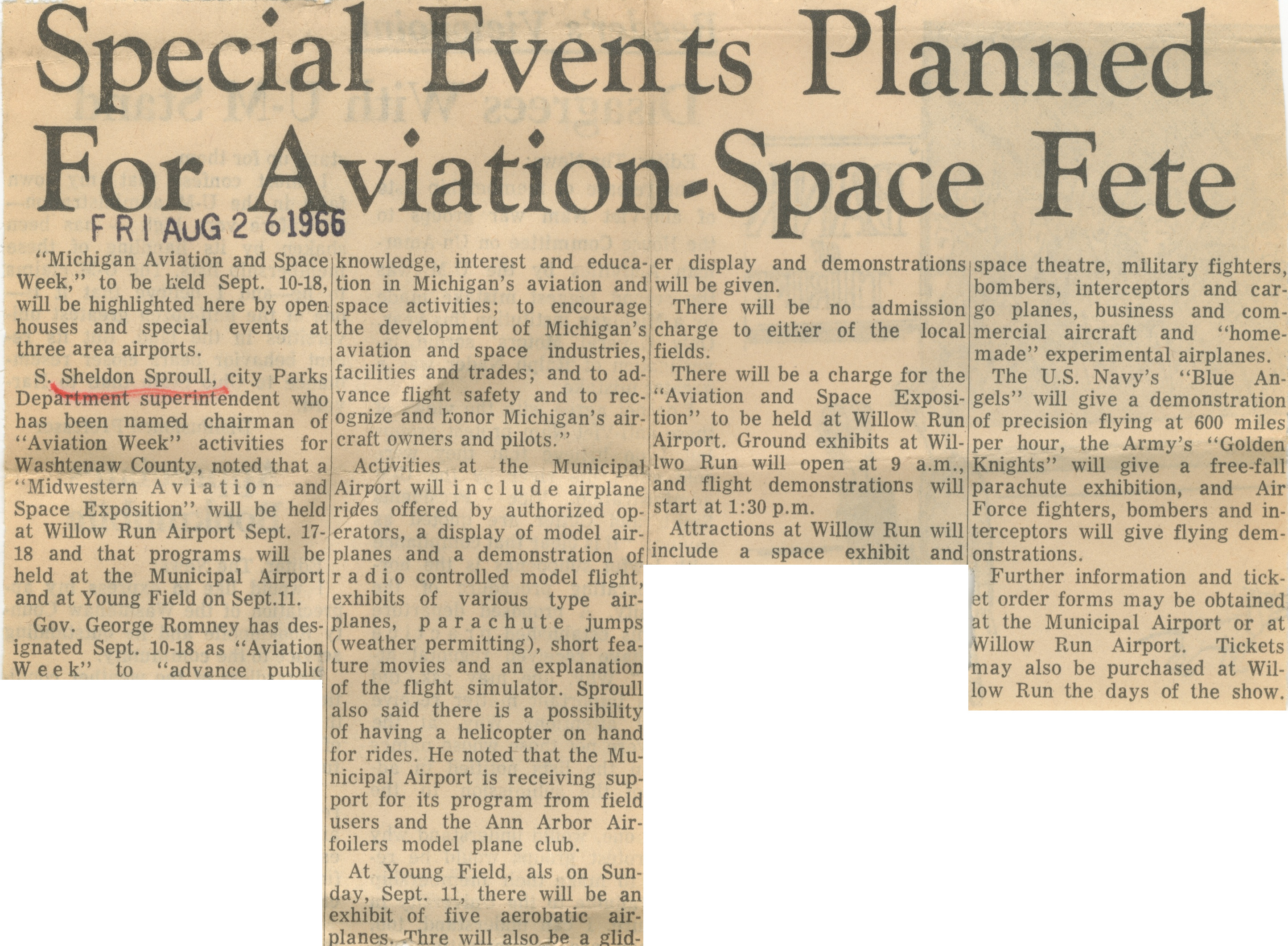 Special Events Planned For Aviation-Space Fete image