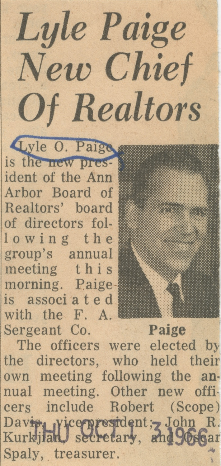 Lyle Paige New Chief Of Realtors image