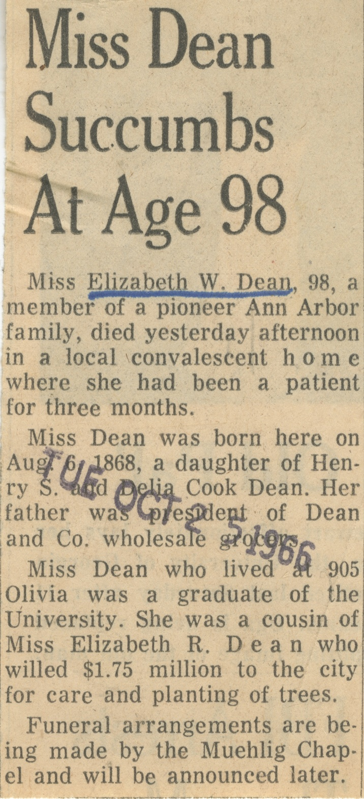 Miss Dean Succumbs at Age 98 image