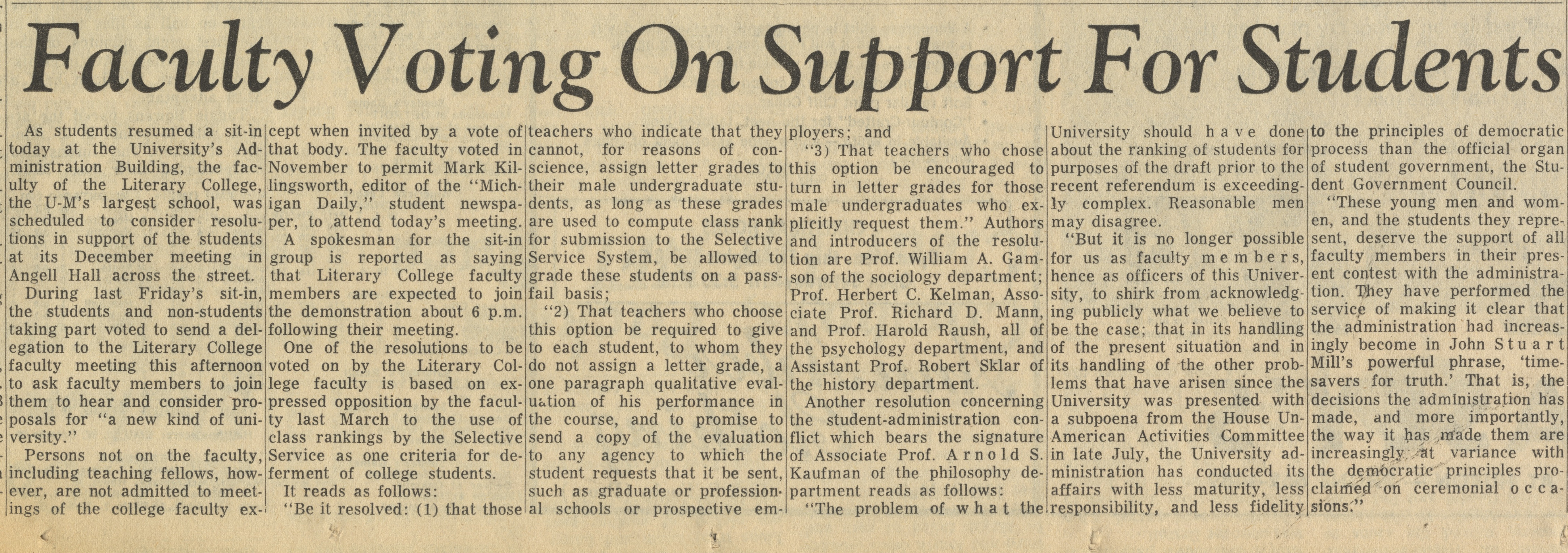 Faculty Voting On Support For Students image