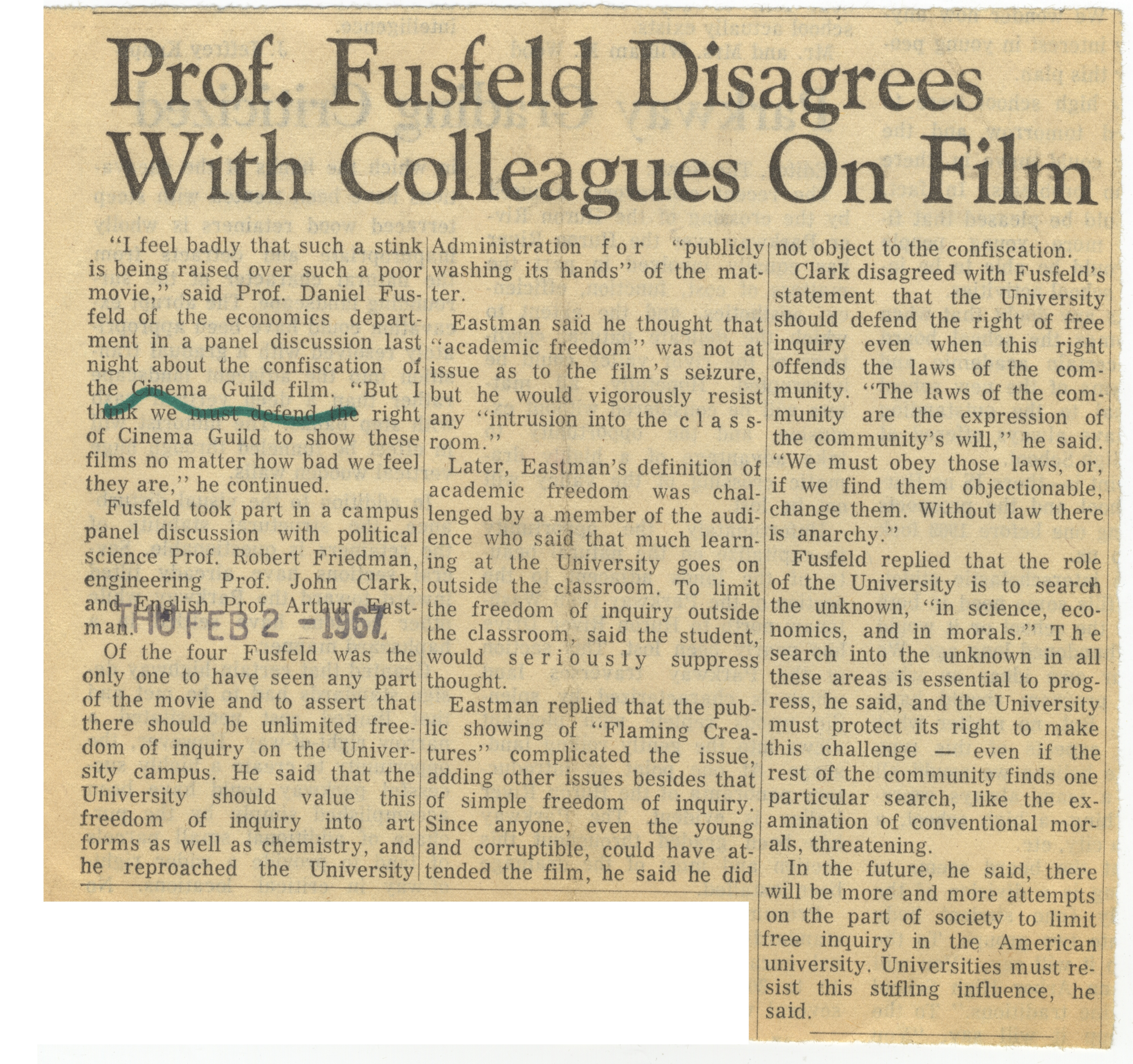 Prof. Fusfeld Disagrees With Colleagues On Film image