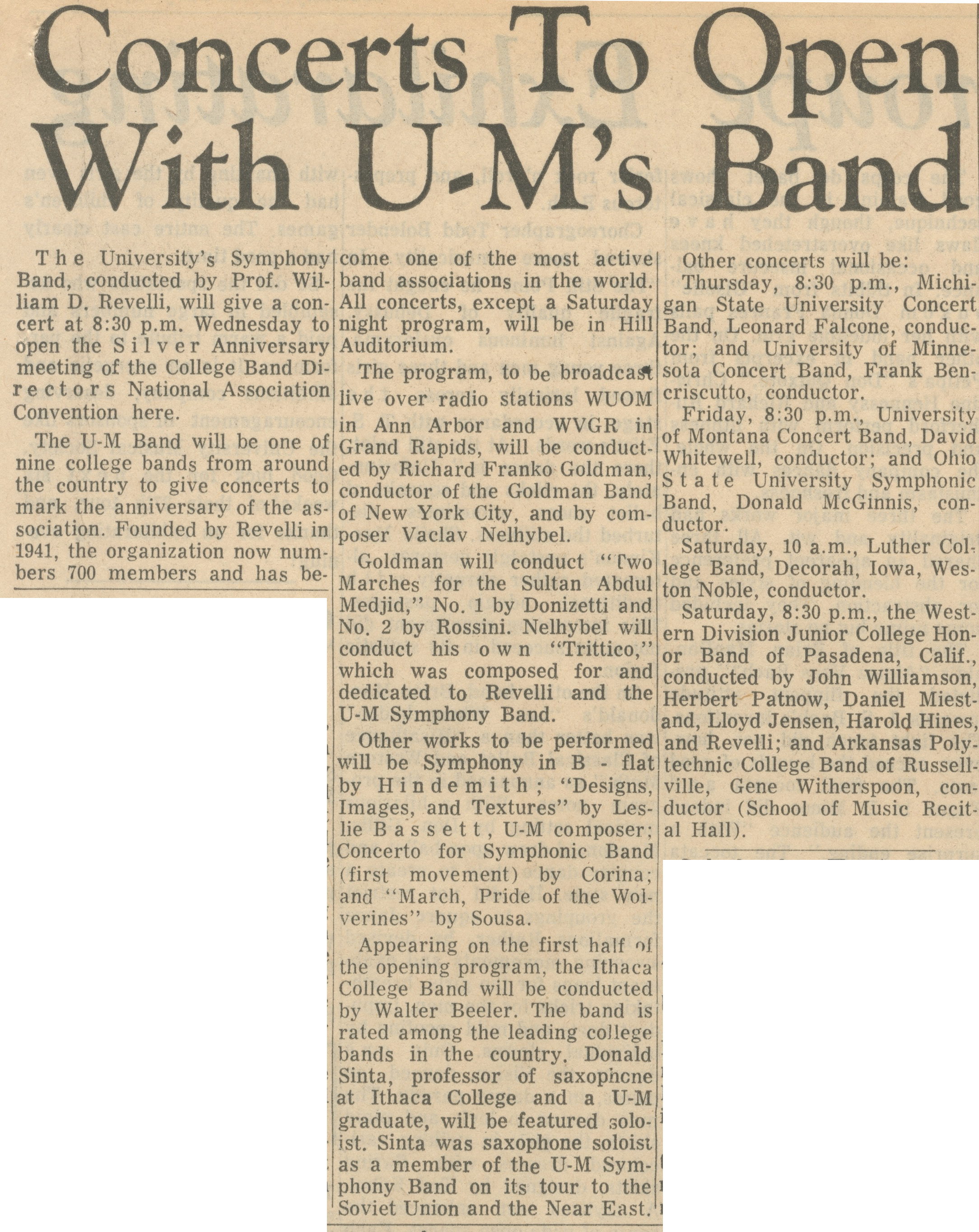 Concerts To Open With U-M's Band image