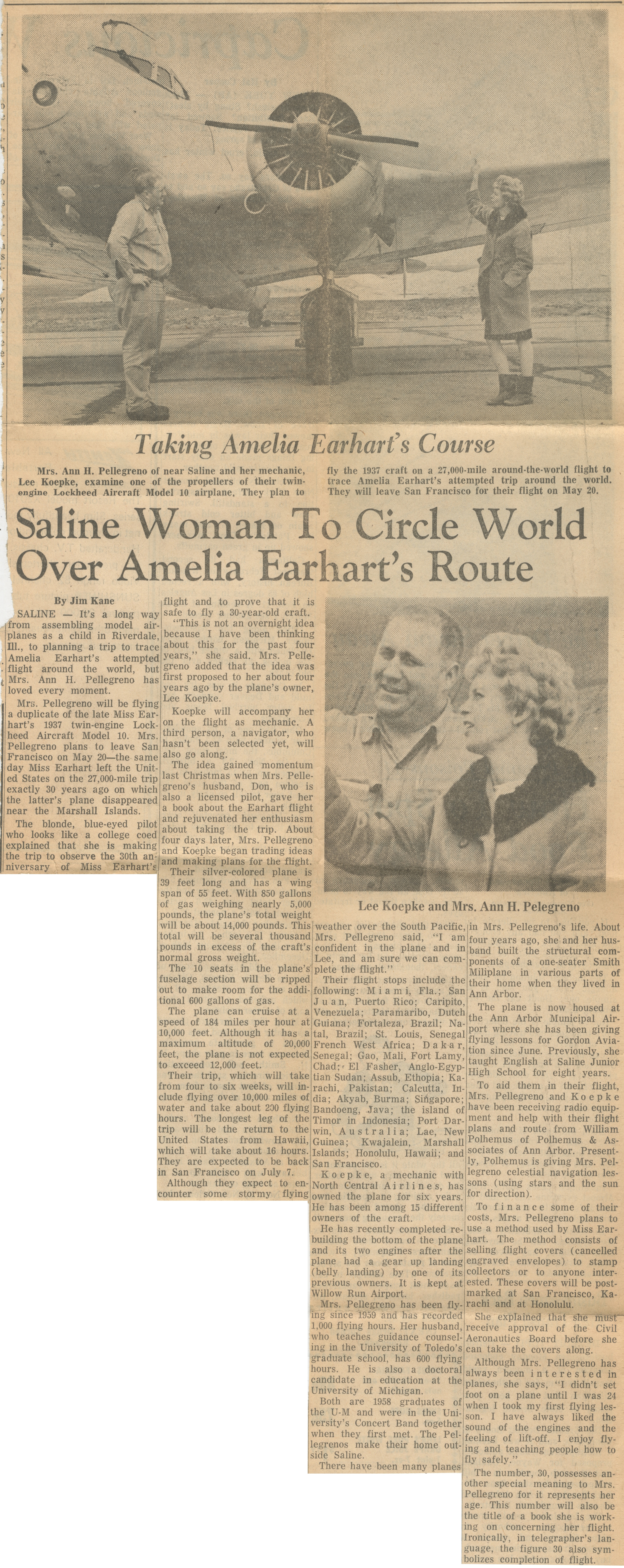 Saline Woman To Circle World Over Amelia Earhart's Route image