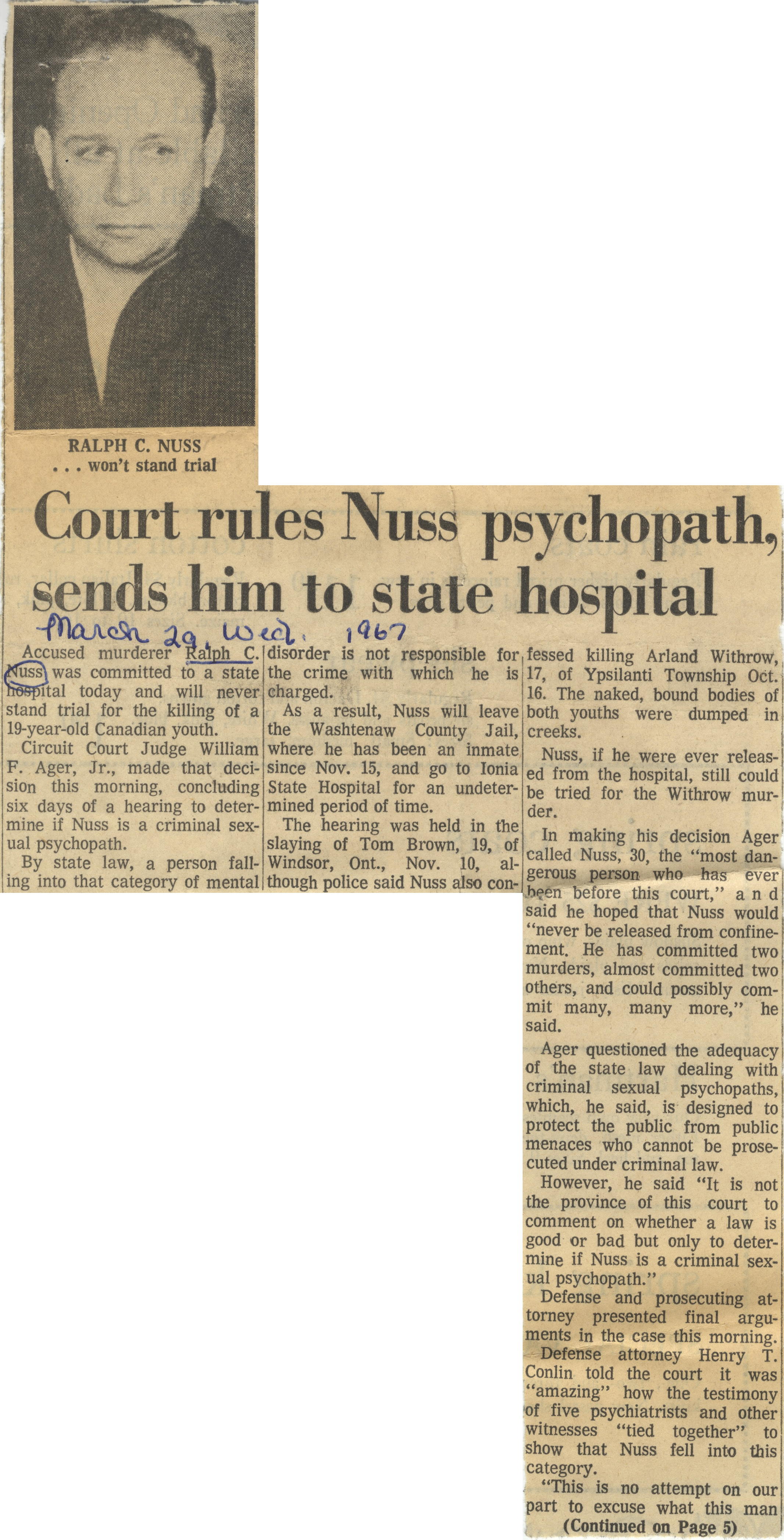 Court Rules Nuss Psychopath, Sends Him To State Hospital image