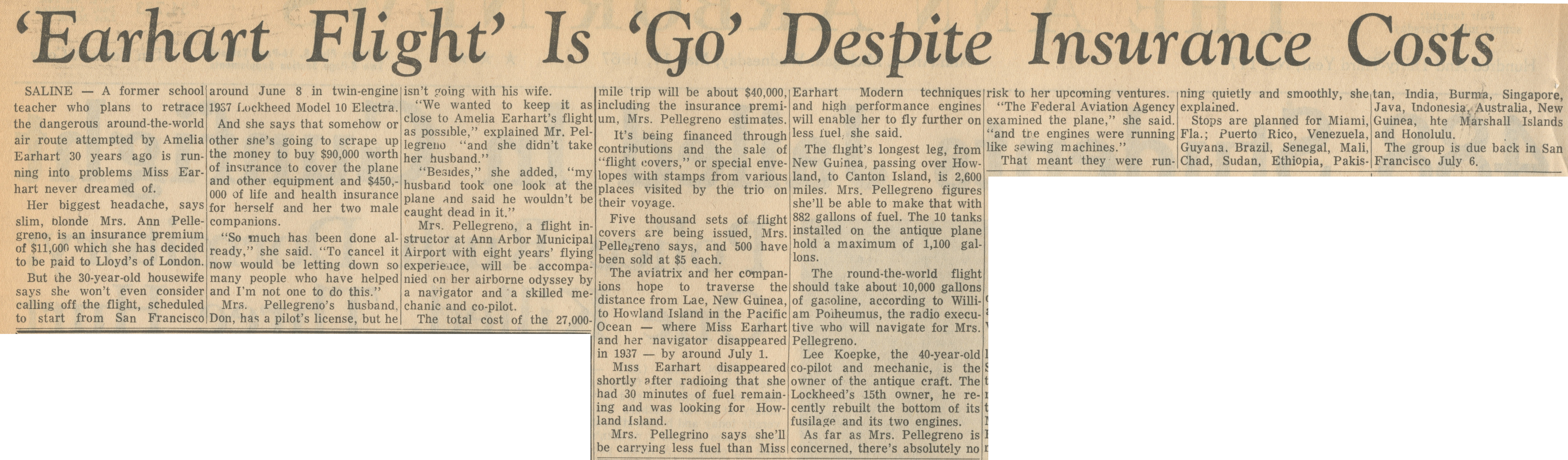 'Earhart Flight' Is 'Go' Despite Insurance Costs image