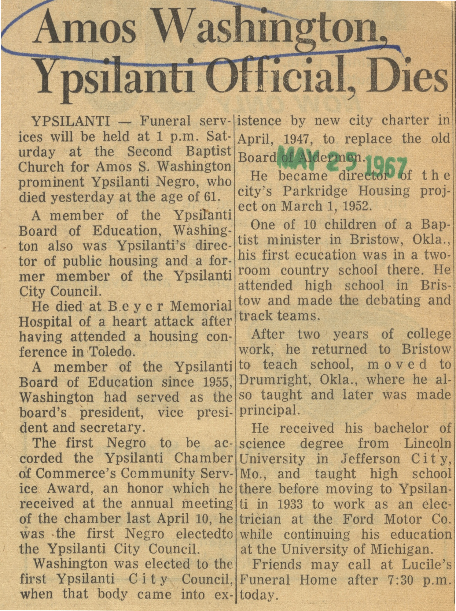 Amos Washington, Ypsilanti Official, Dies image