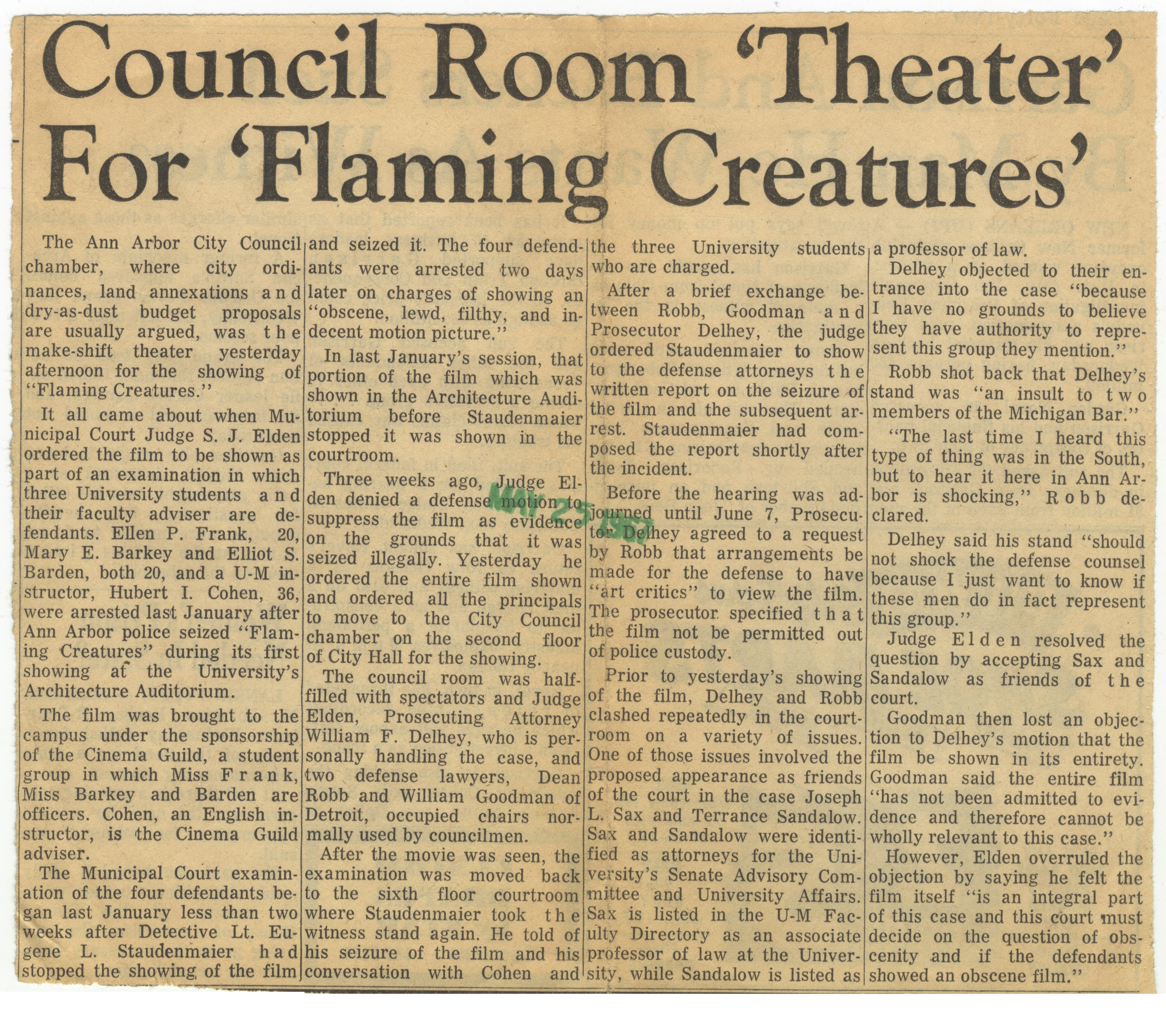 Council Room 'Theater' For 'Flaming Creatures' image