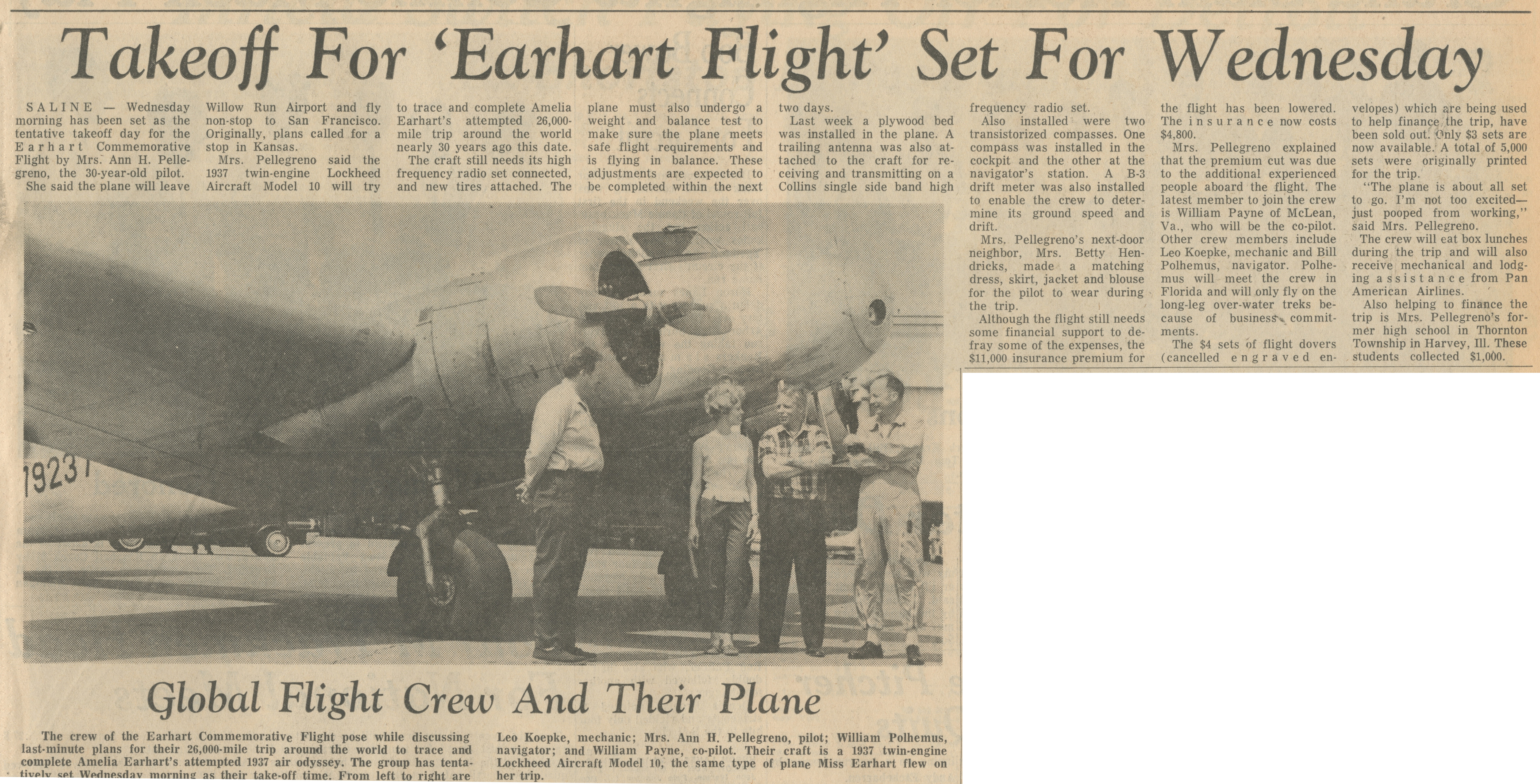 Takeoff For 'Earhart Flight' Set For Wednesday image
