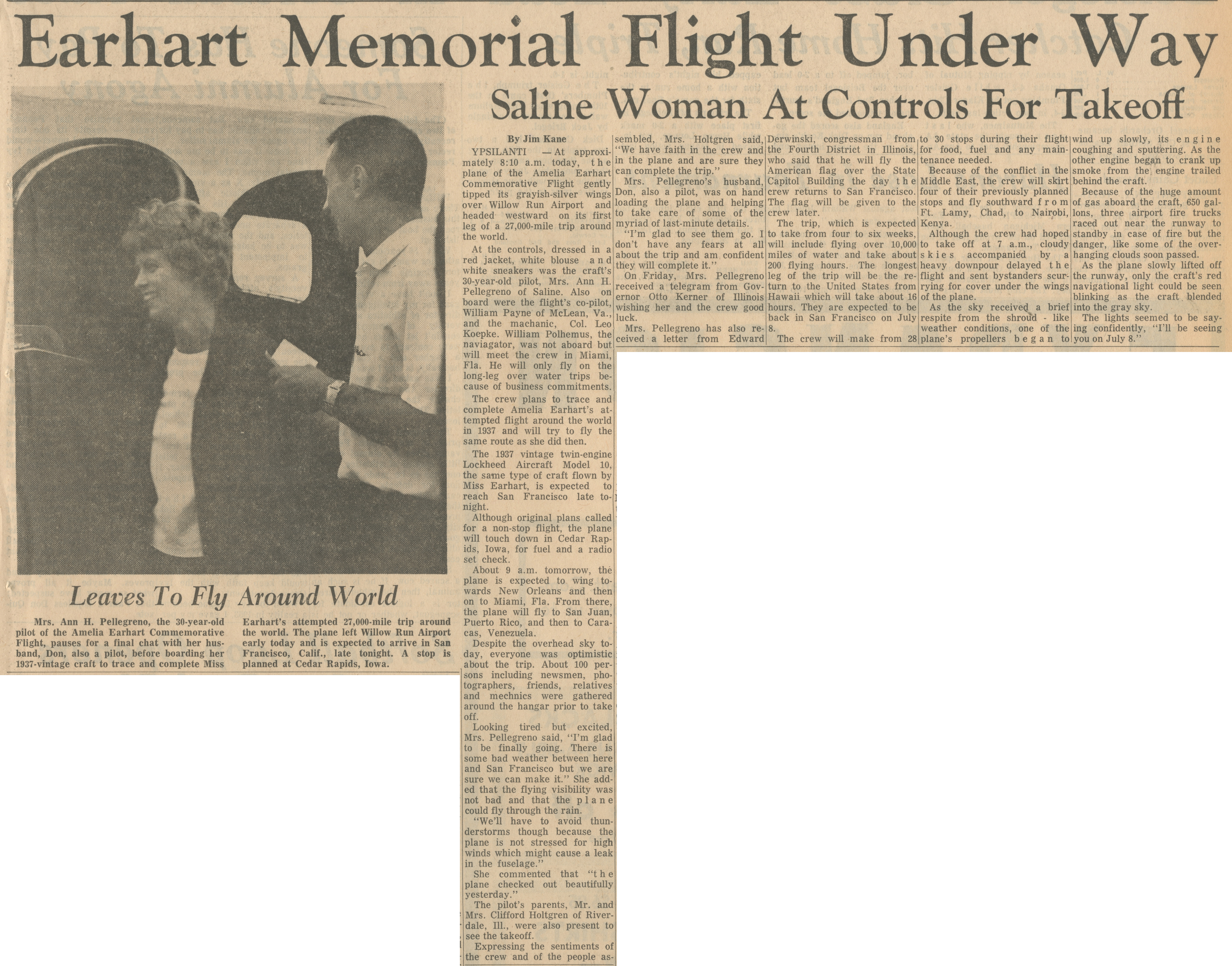Earhart Memorial Flight Under Way - Saline Woman At Controls For Takeoff image