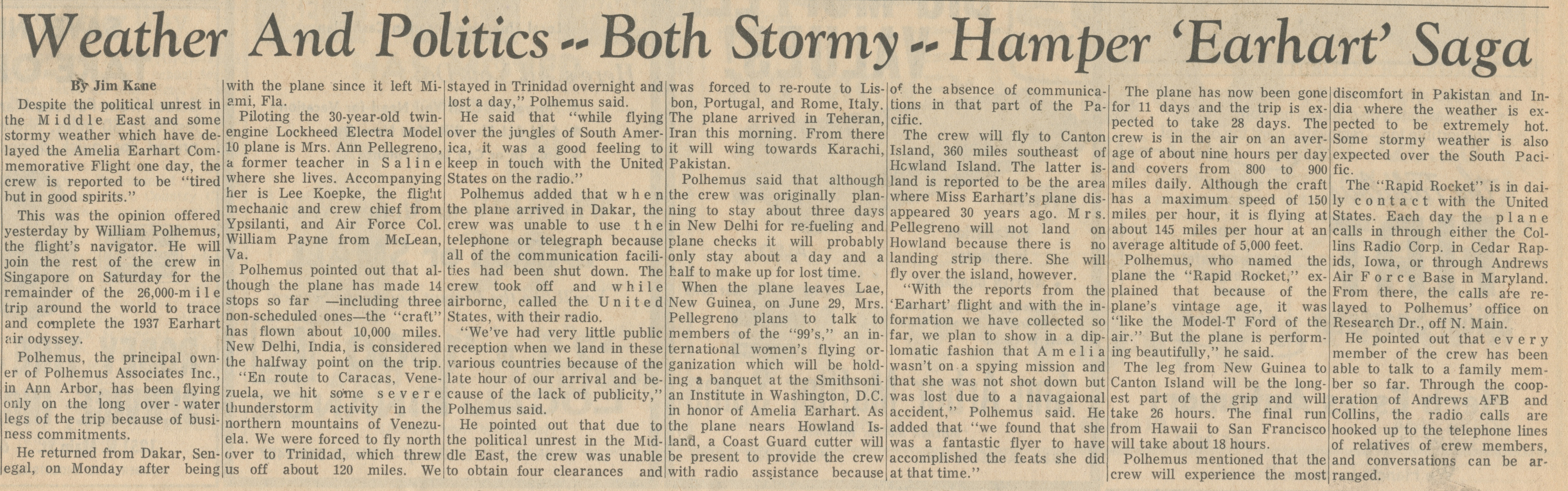 Weather And Politics -- Both Stormy -- Hamper 'Earhart' Saga image