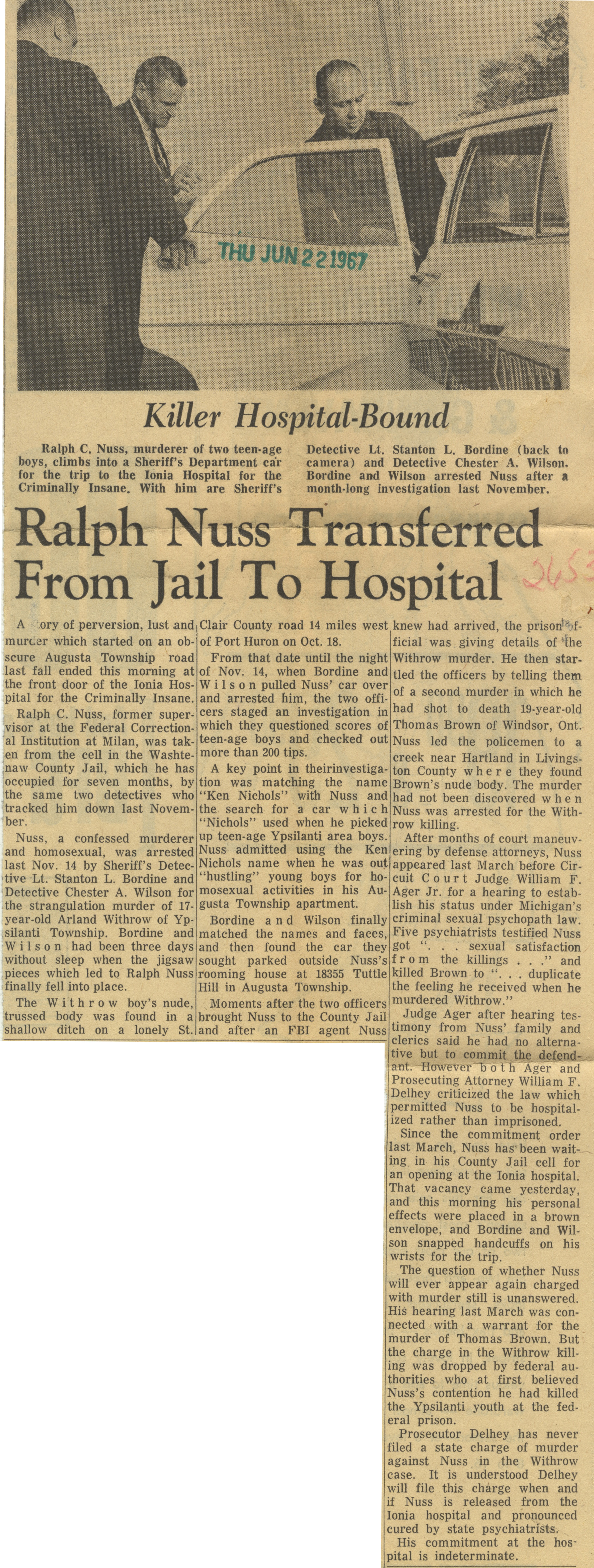 Ralph Nuss Transferred From Jail To Hospital image