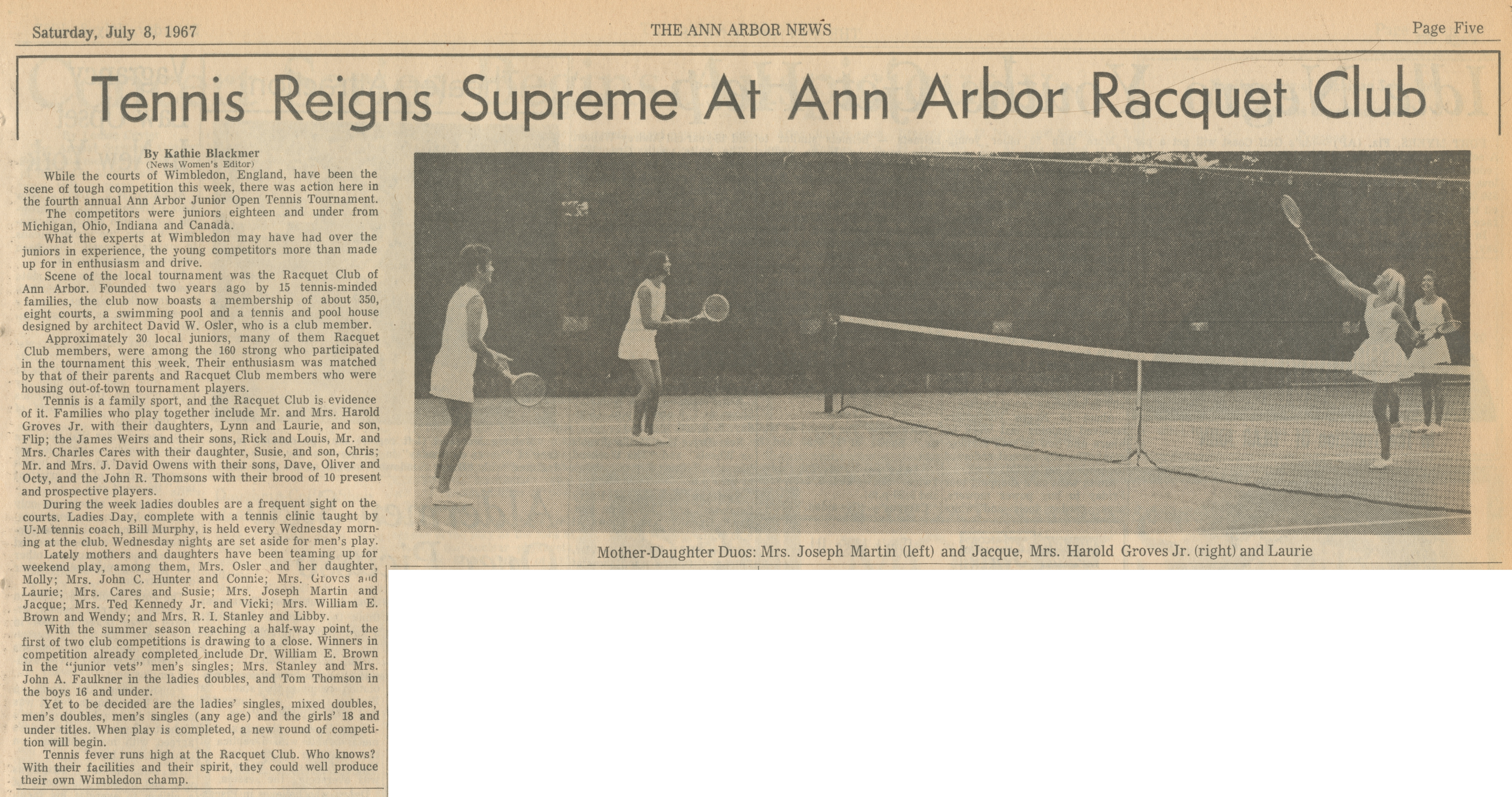 Tennis Reigns Supreme At Ann Arbor Racquet Club image