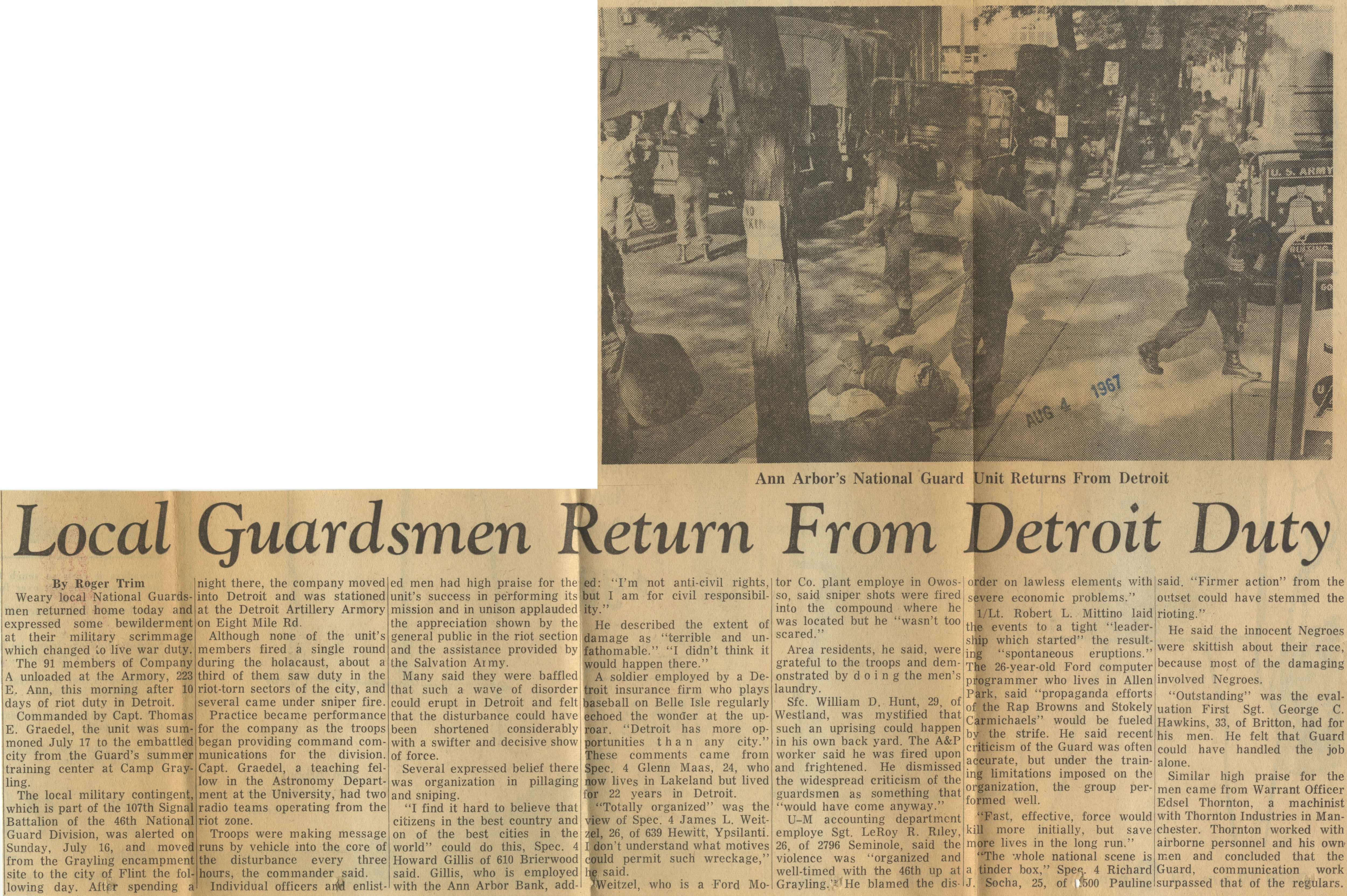 Local Guardsmen Return From Detroit Duty image