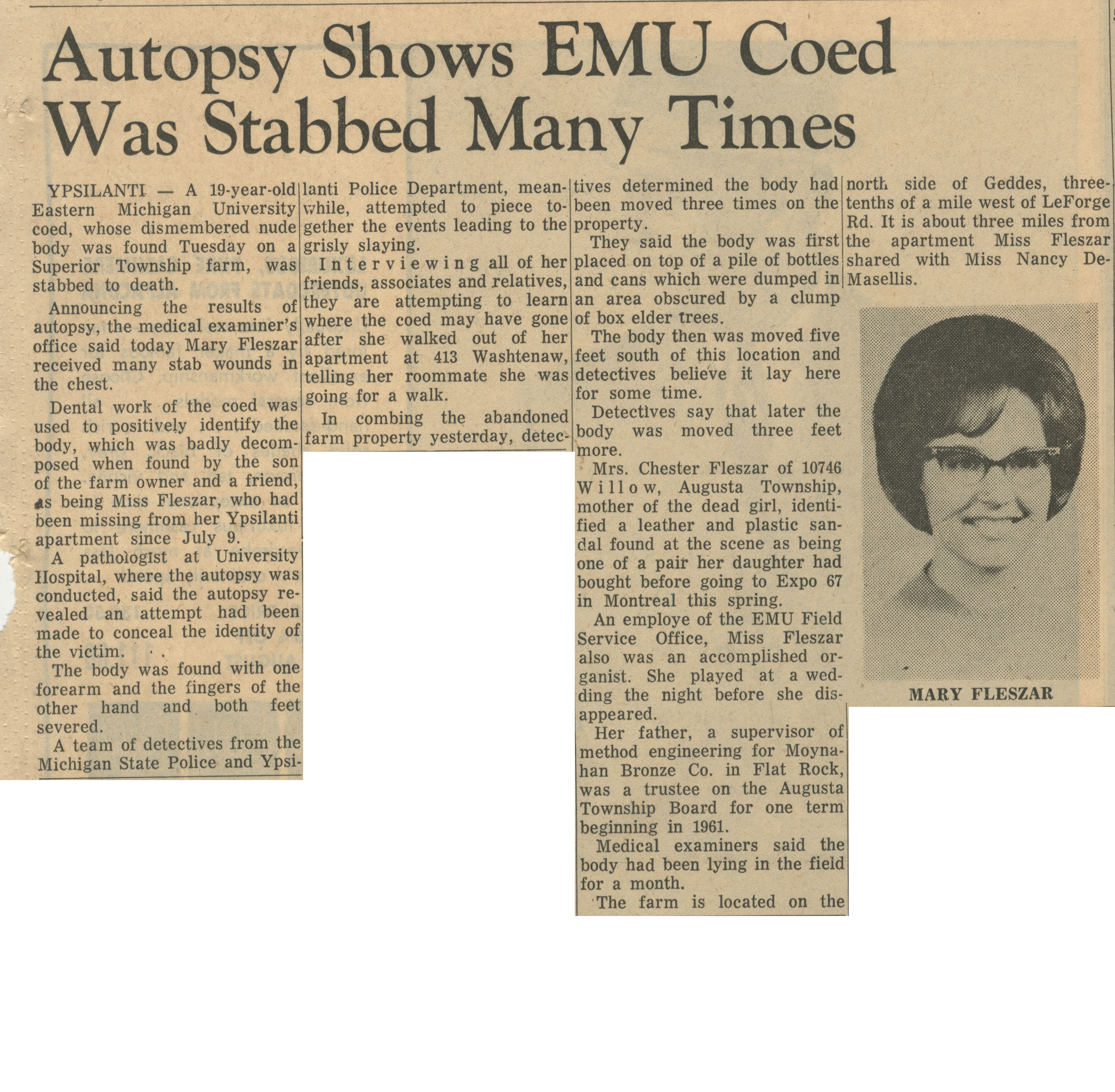 Autopsy Shows EMU Coed Was Stabbed Many Times image