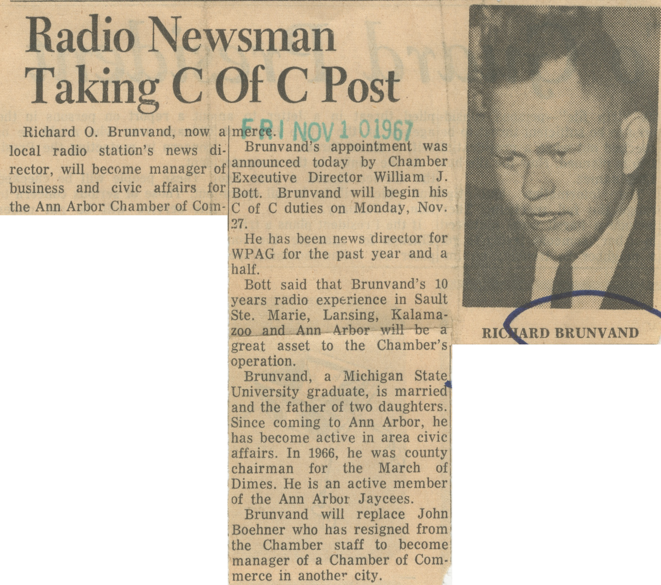 Radio Newsman Taking C Of C Post image