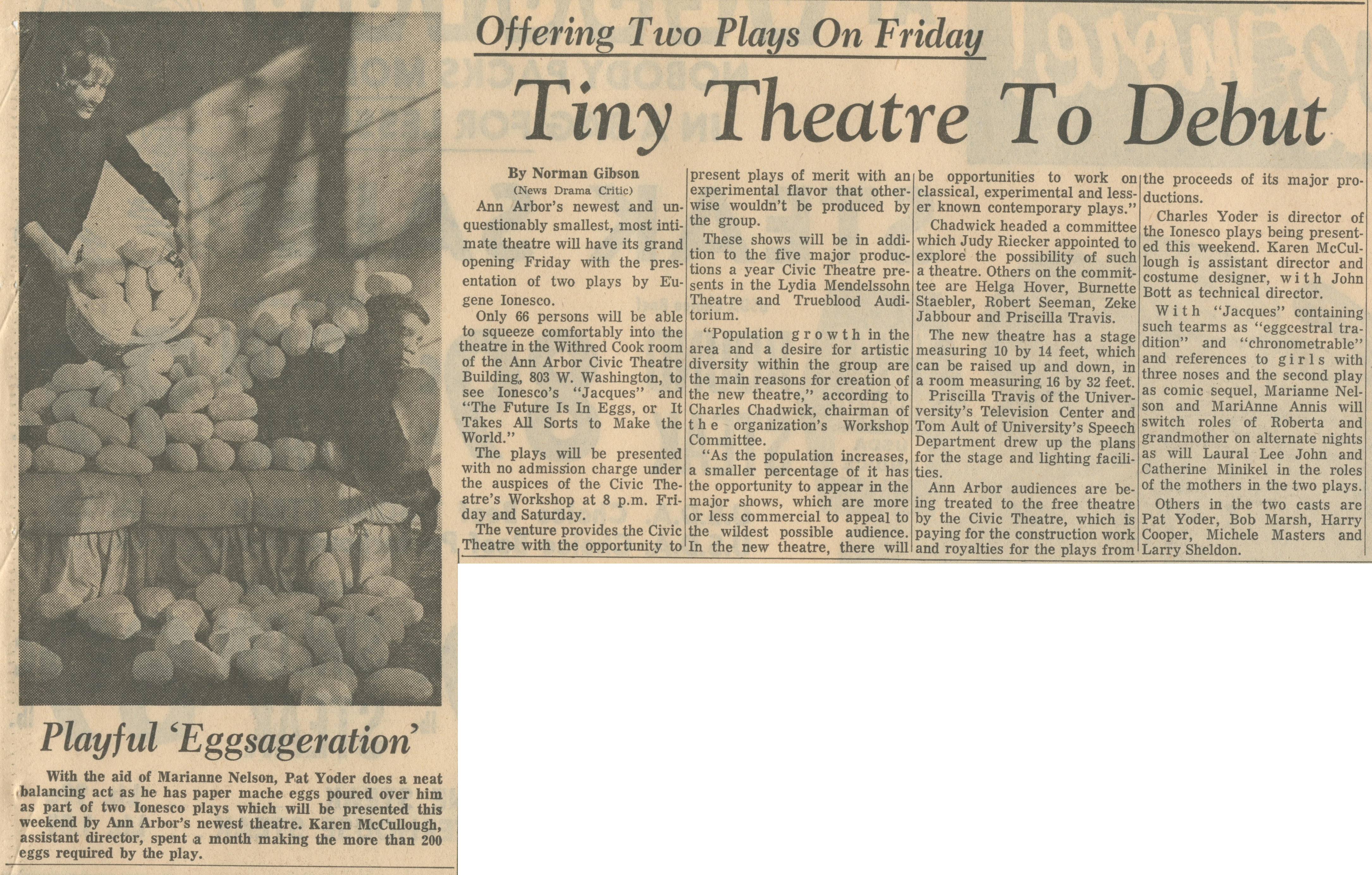 Tiny Theatre To Debut - Offering Two Plays On Friday image