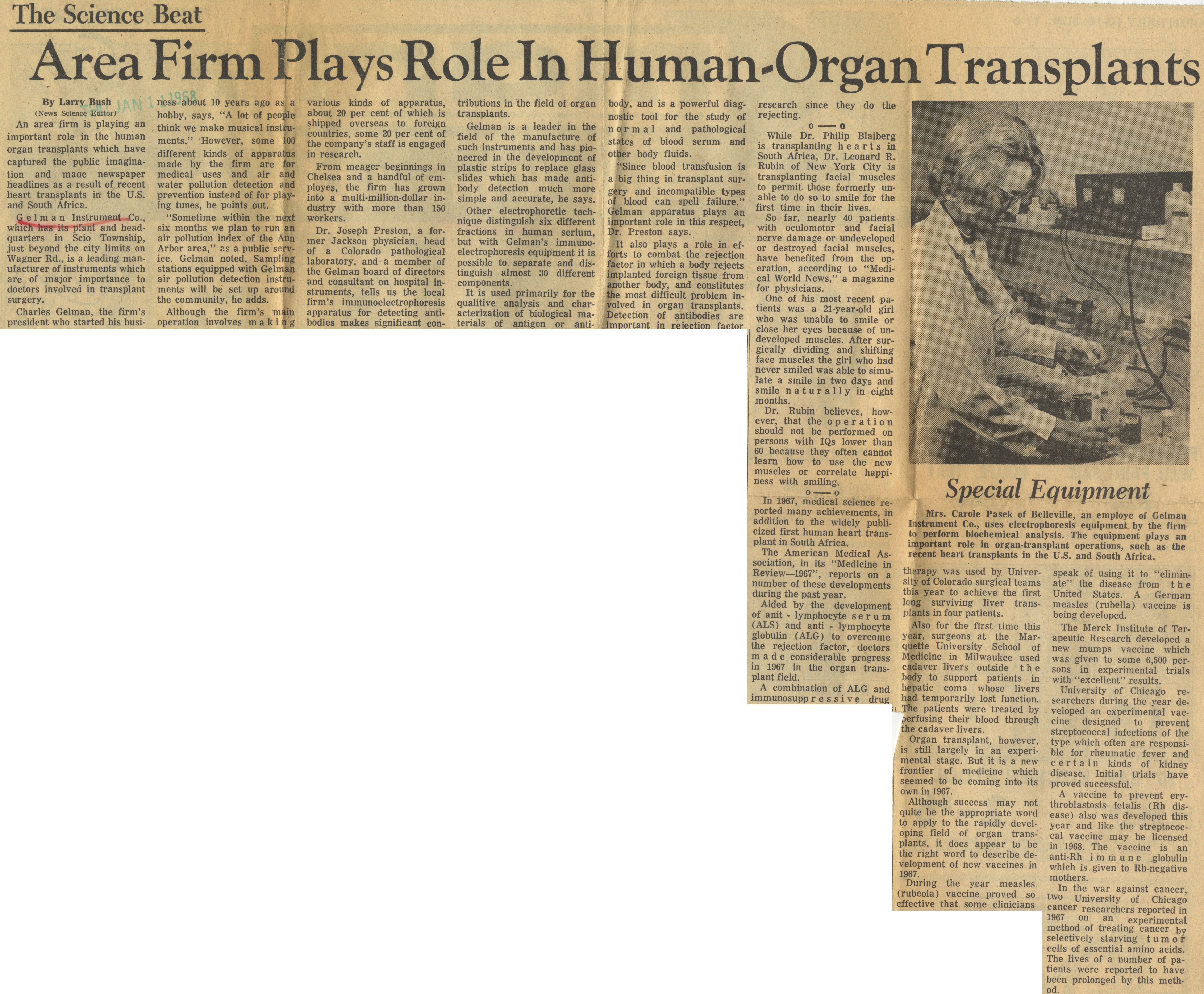 Area Firm Plays Role In Human-Organ Transplants image