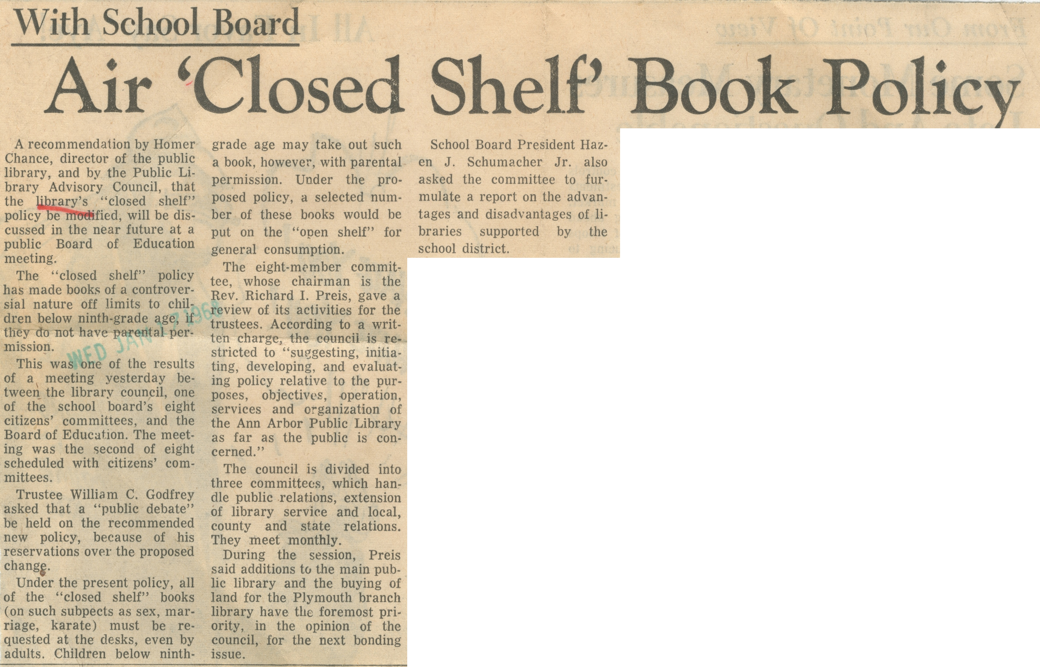 "Air ""Closed Shelf"" Book Policy - With School Board image"