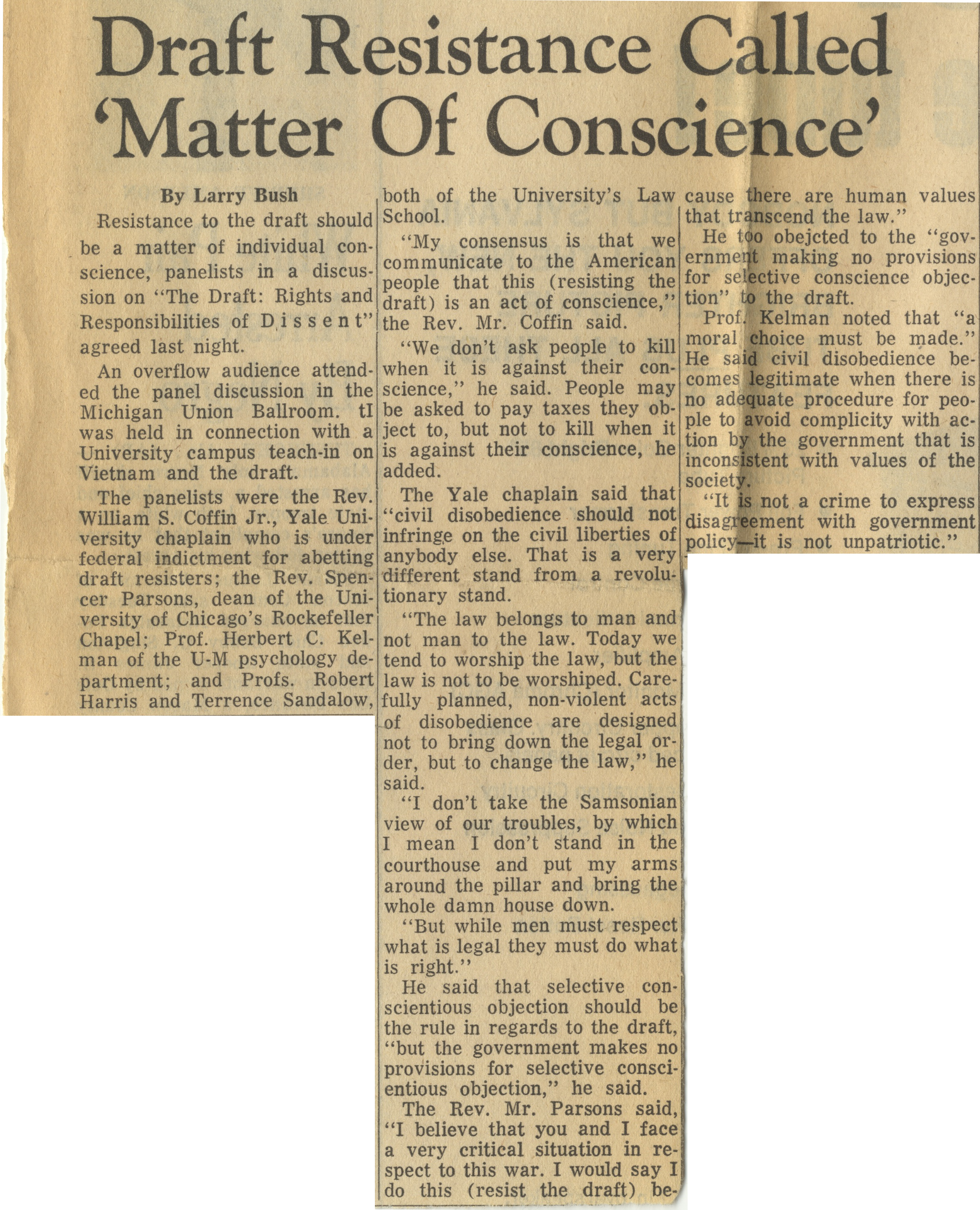 Draft Resistance Called 'Matter Of Conscience' image