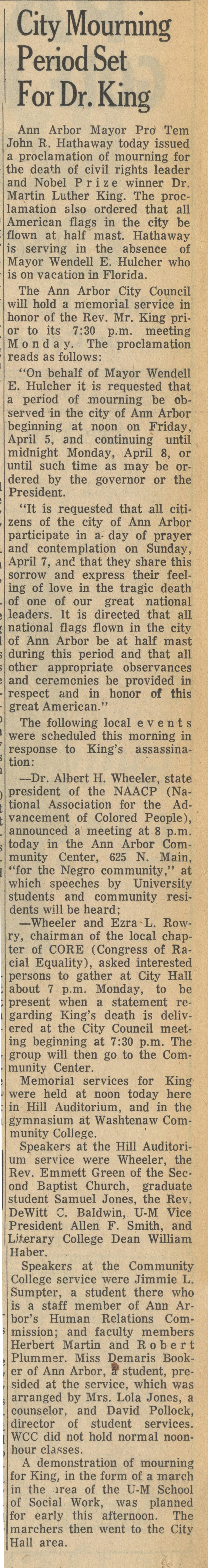 City Mourning Period Set For Dr. King image