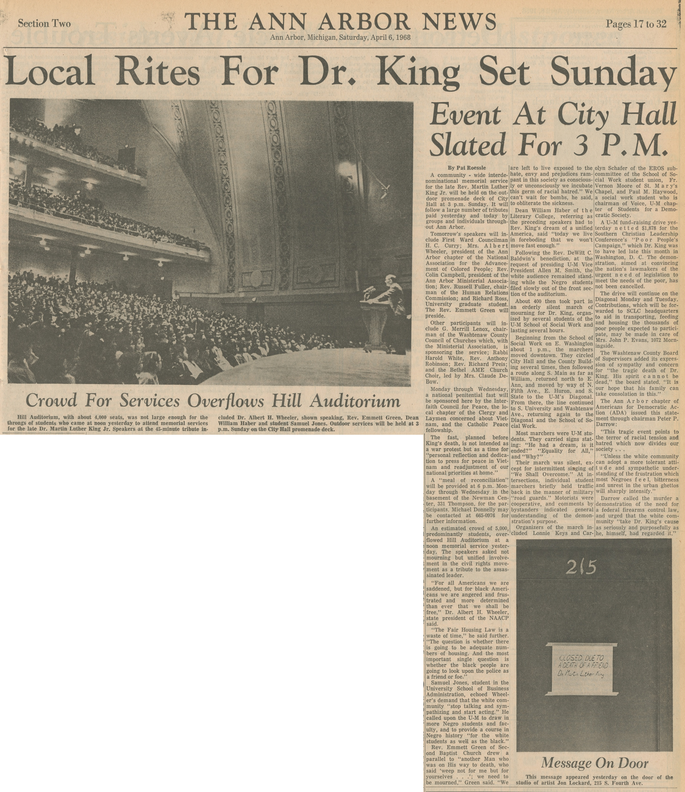 Local Rites For Dr. King Set Sunday - Event At City Hall Slated For 3 P.M. image