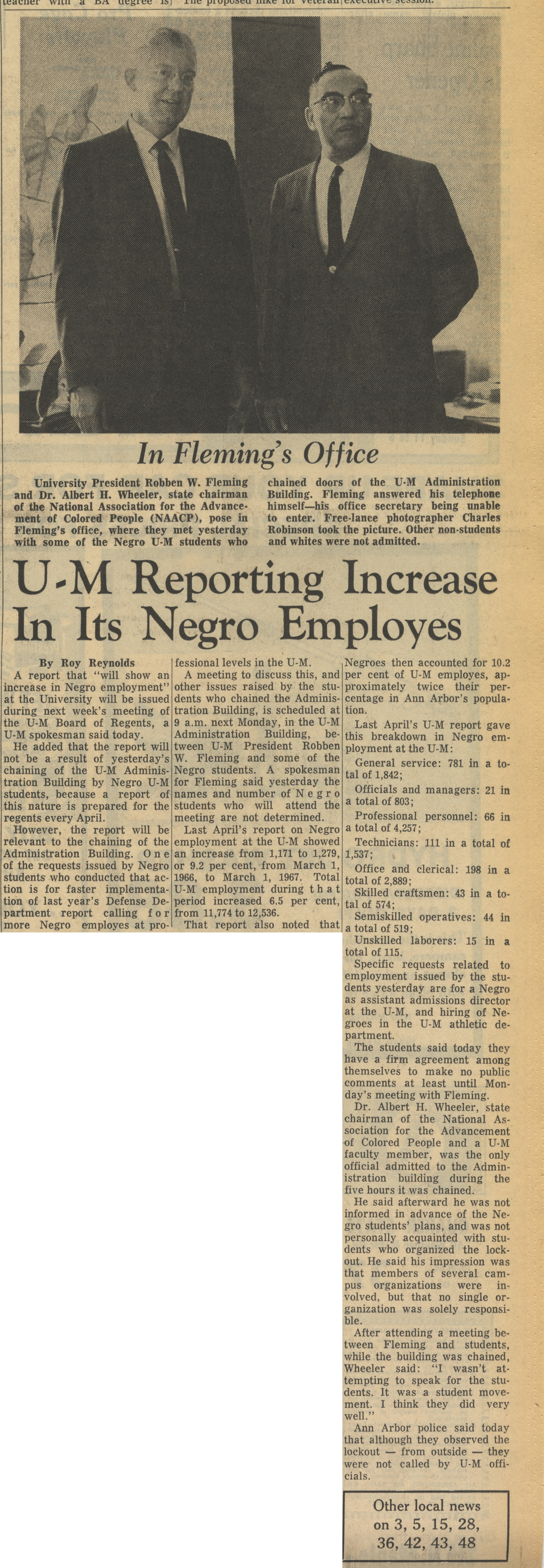 U-M Reporting Increases In Its Negro Employees image