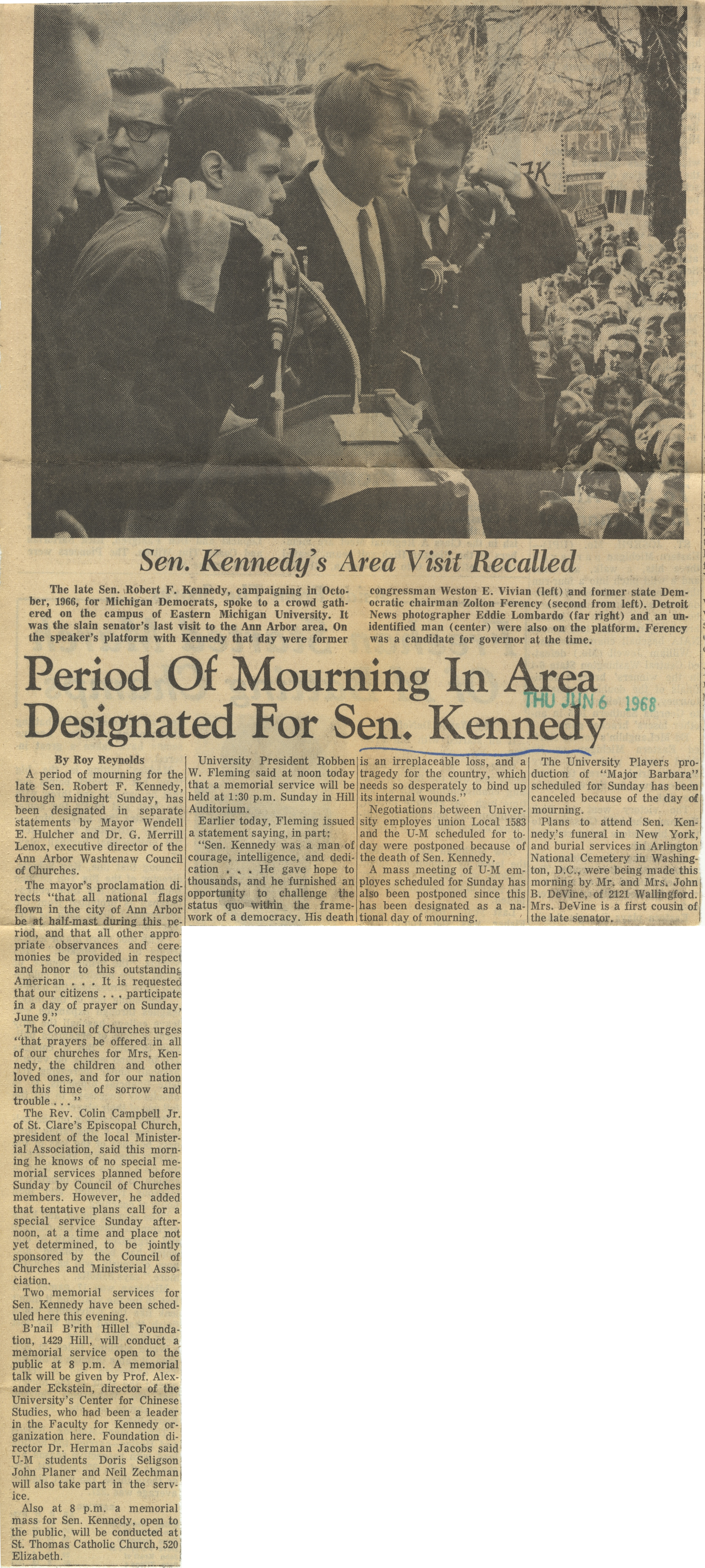 Period of Mourning In Area Designated For Sen. Kennedy image