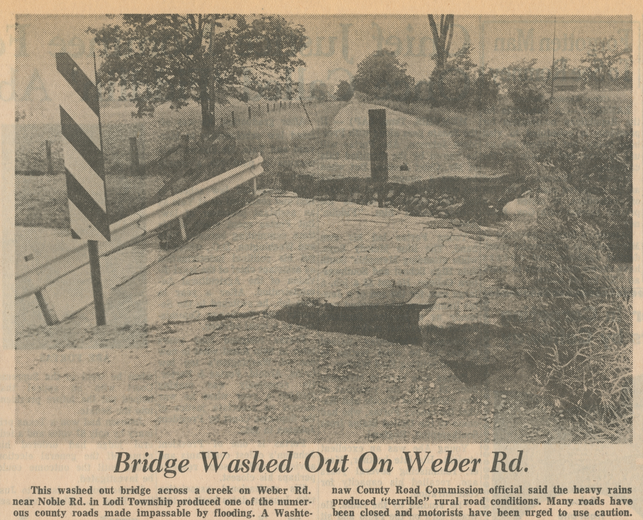 Bridge Washed Out On Weber Rd image