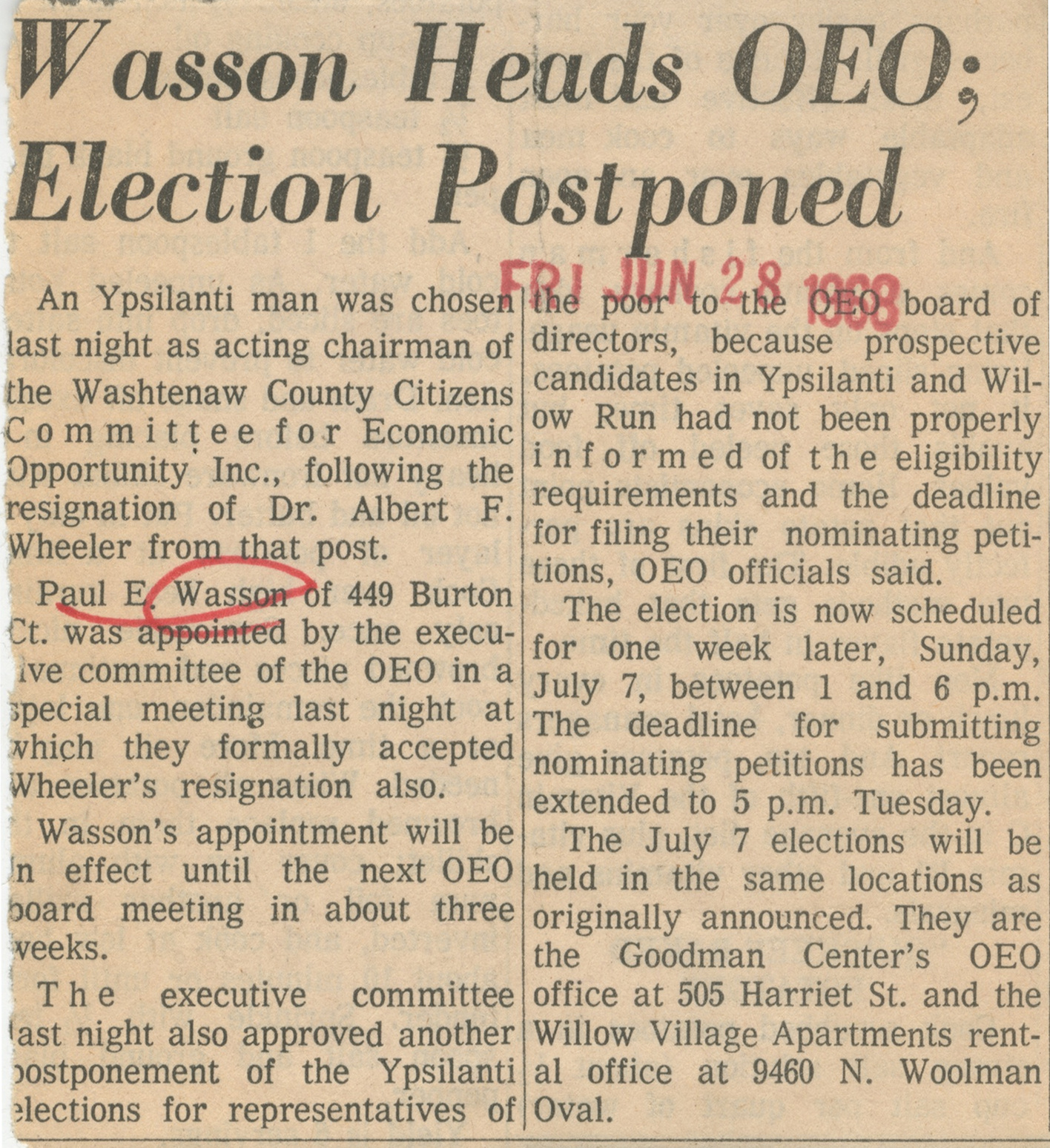 Wasson Heads OEO; Election Postponed image